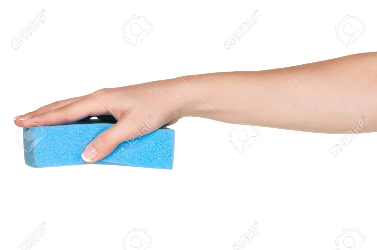 Woman Hand With Kitchen Sponge For Ware Washing Isolated On White ...
