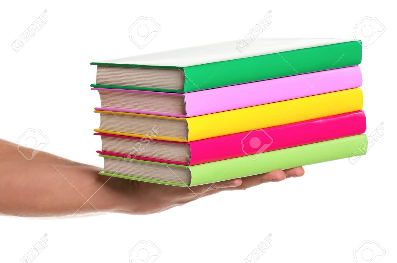 Man hand with a books isolated on white background Stock Photo - 15597627