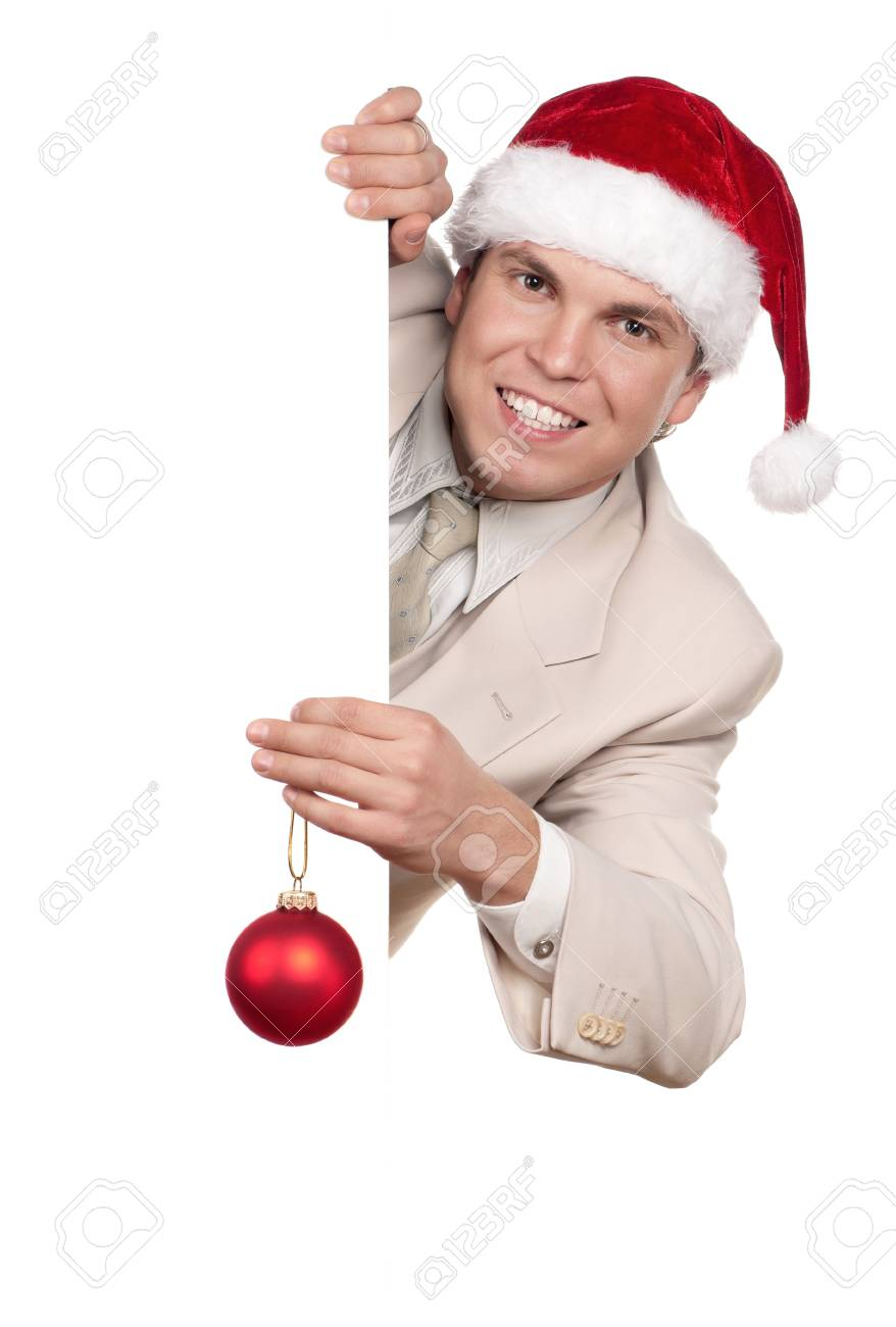 Portrait of handsome man in santa hat with blank billboard on white background Stock Photo - 15597605