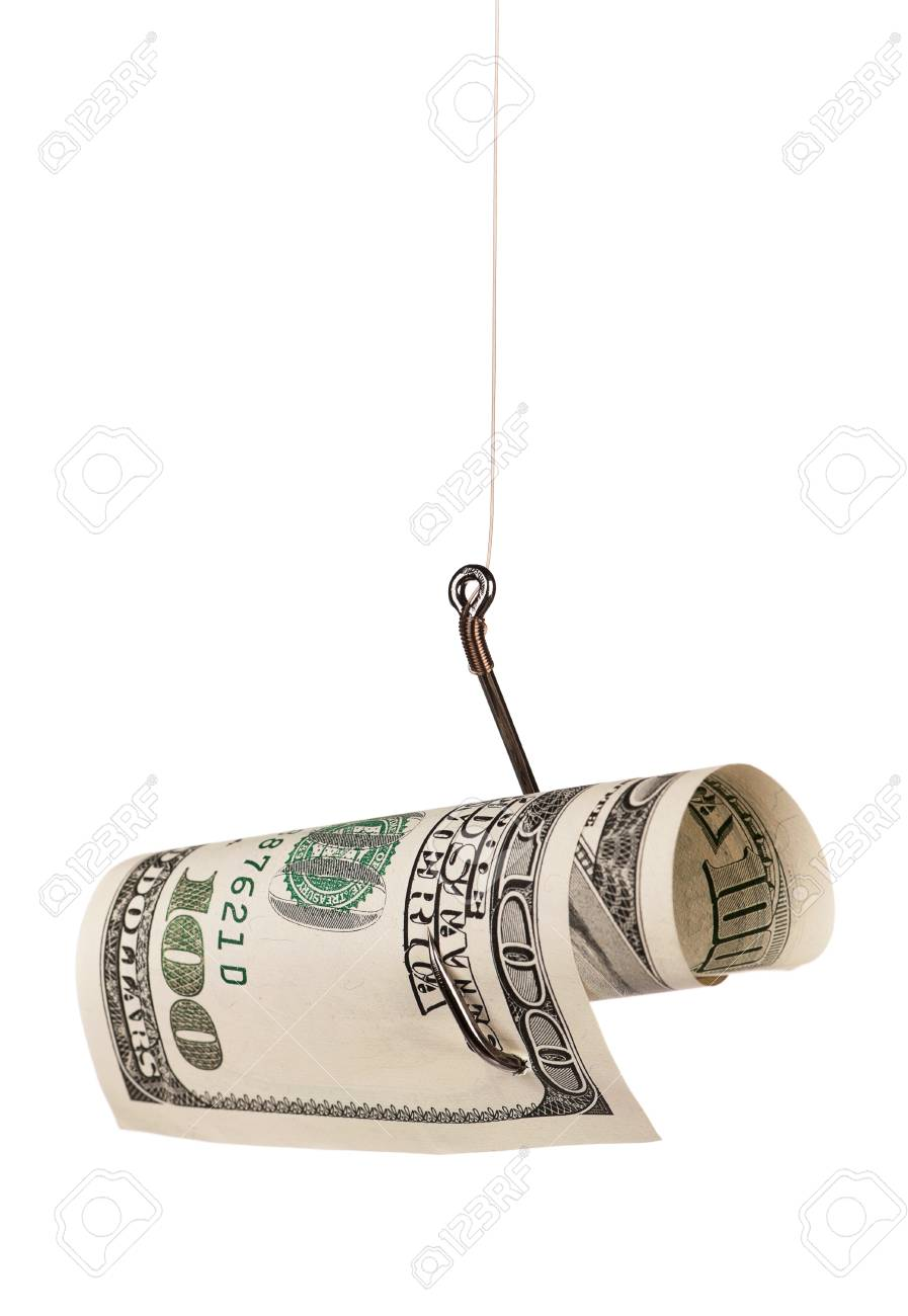 Fish hook with dollars isolated on white background Stock Photo - 15935311