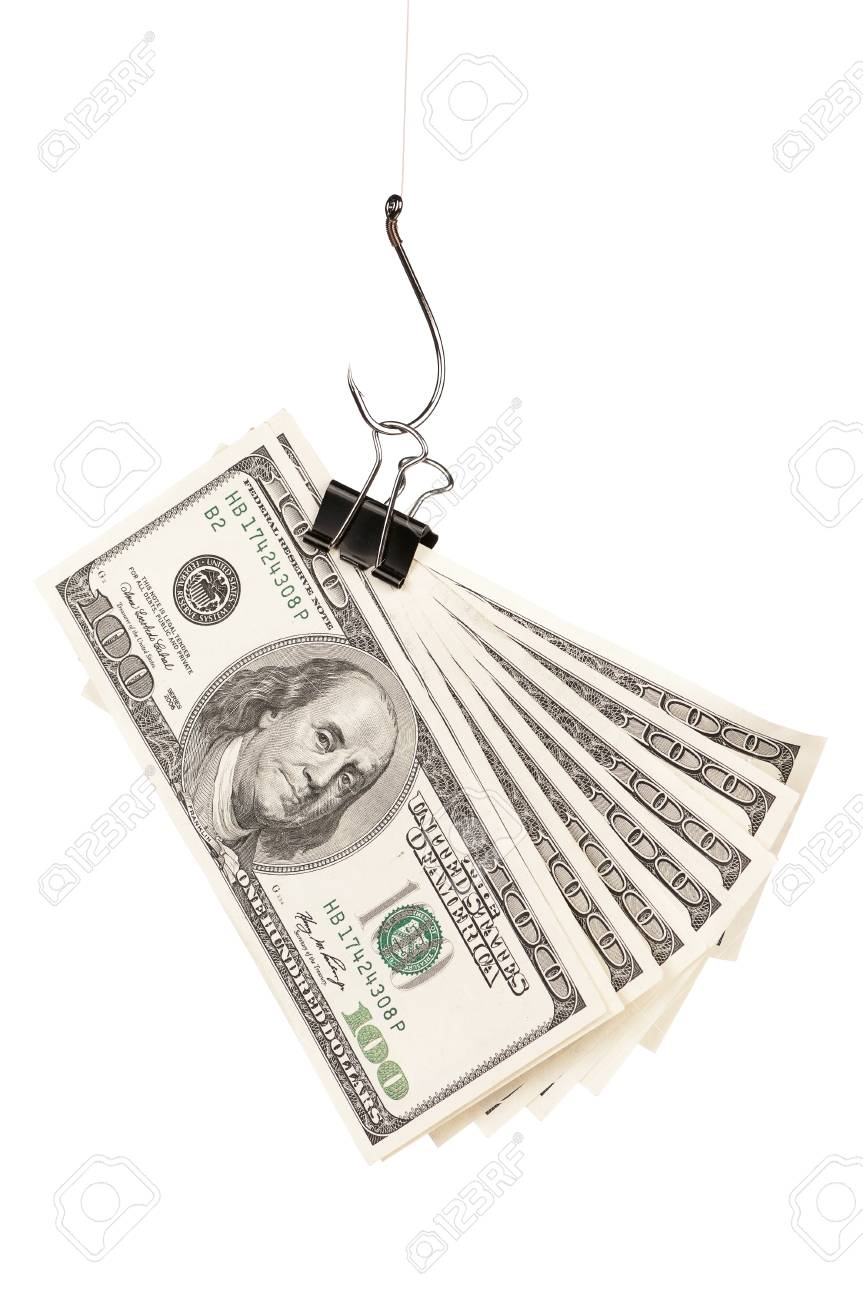 Fish hook with dollars isolated on white background Stock Photo - 16384710