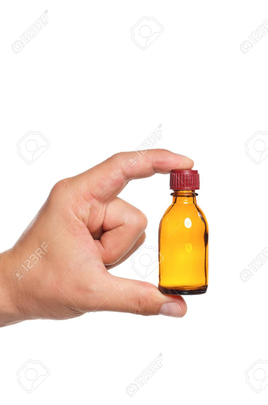 Man hand with small bottle isolated on white background Stock Photo - 16384240