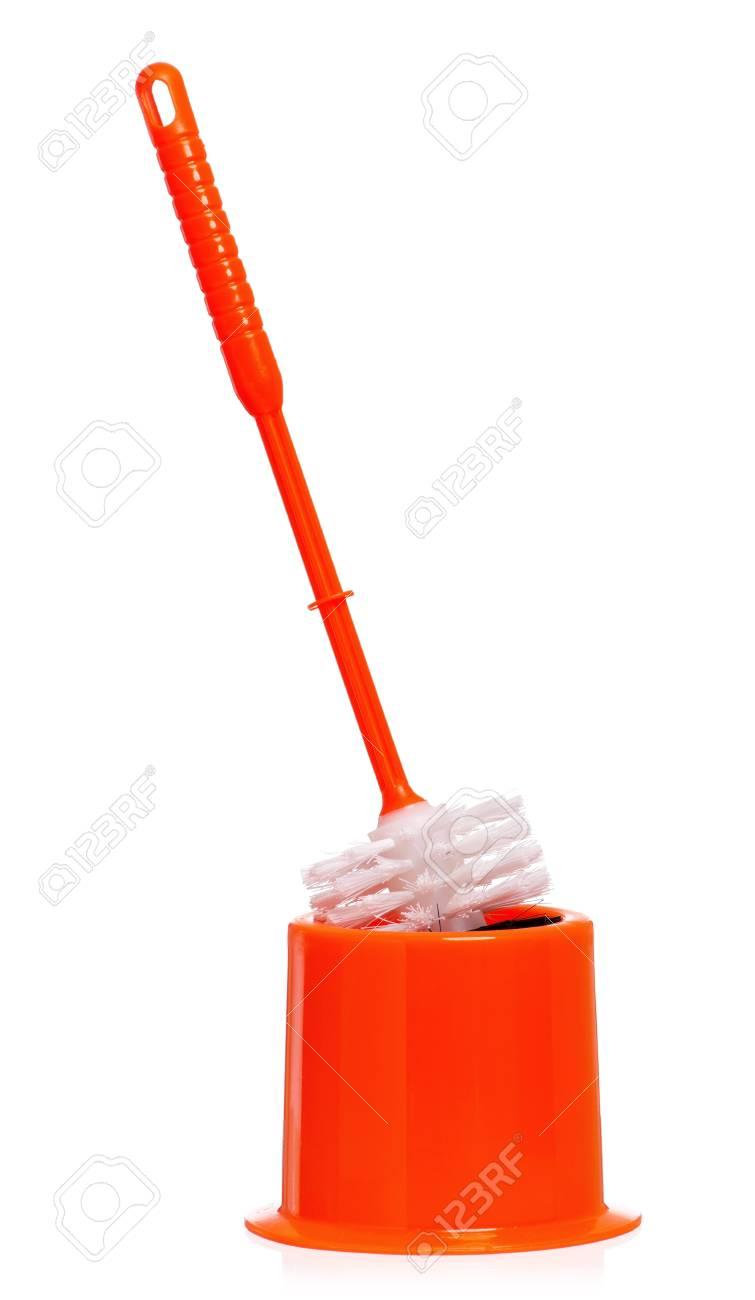 Plastic orange toilet brush isolated on white background Stock Photo - 16384038
