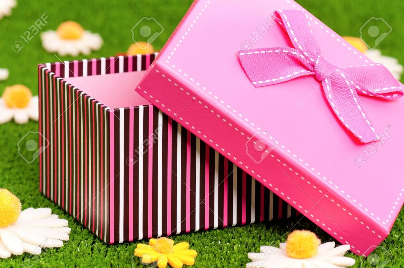 Single gift box on artificial green grass Stock Photo - 17579410