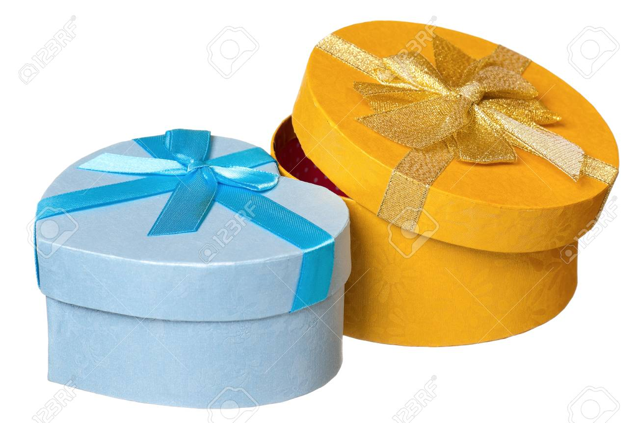 Gift boxes with ribbon isolated on white background Stock Photo - 17579404