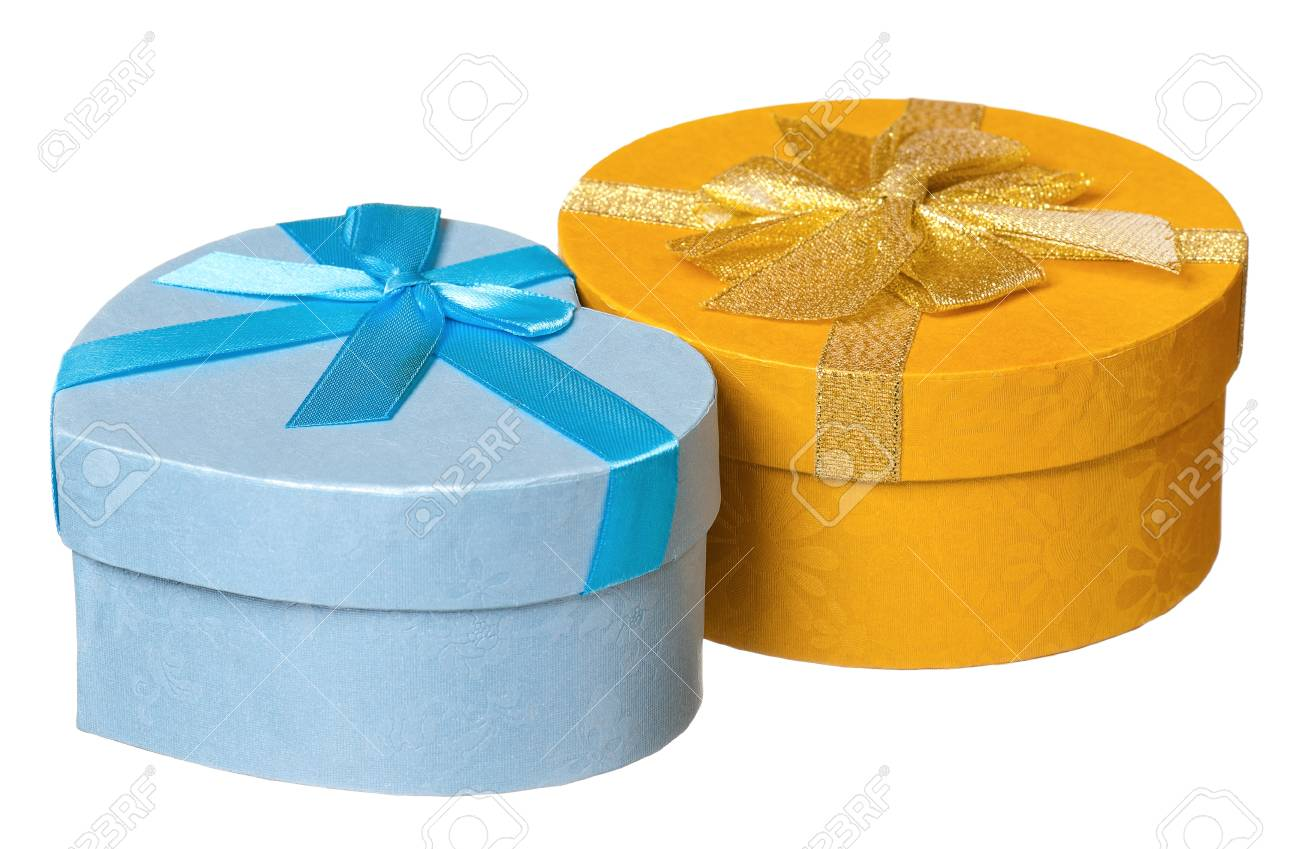 Gift boxes with ribbon isolated on white background Stock Photo - 17939214