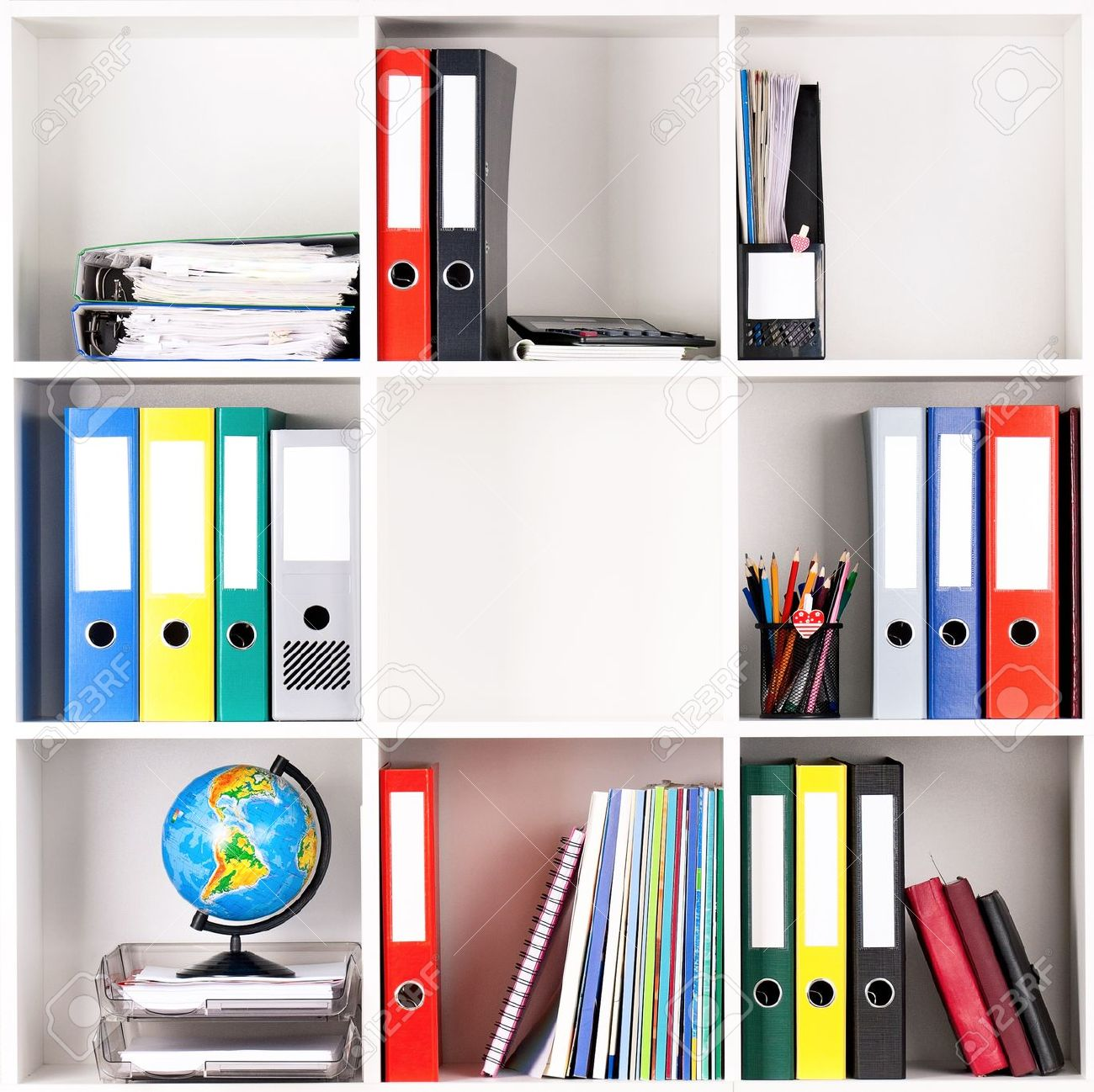 File folders, standing on the shelves at office Stock Photo - 19253017