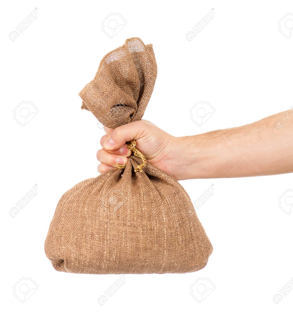 Man hand with small bag on white background Stock Photo - 19252999