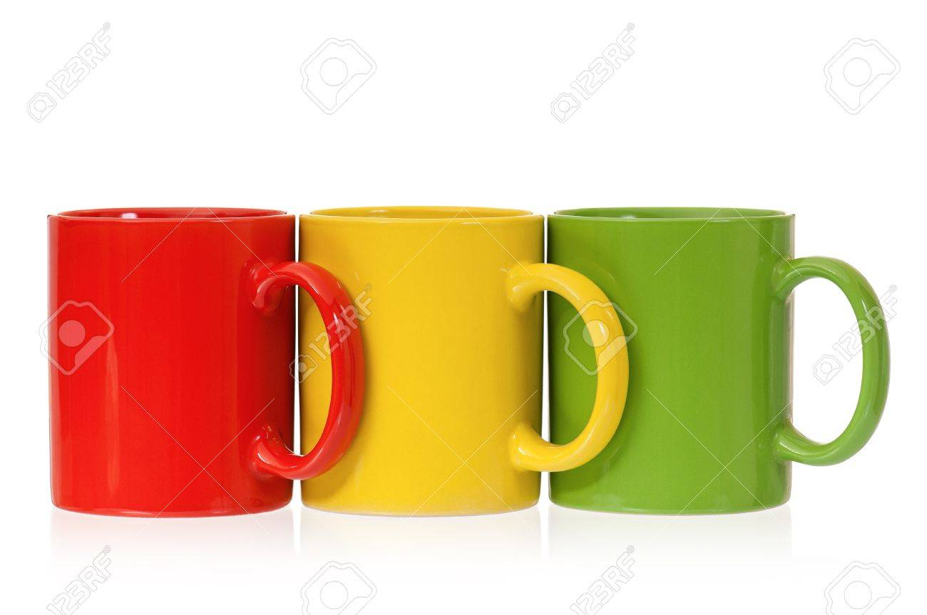 stock photo three colorful mugs for coffee or tea isolated on white background - Colorful Mugs