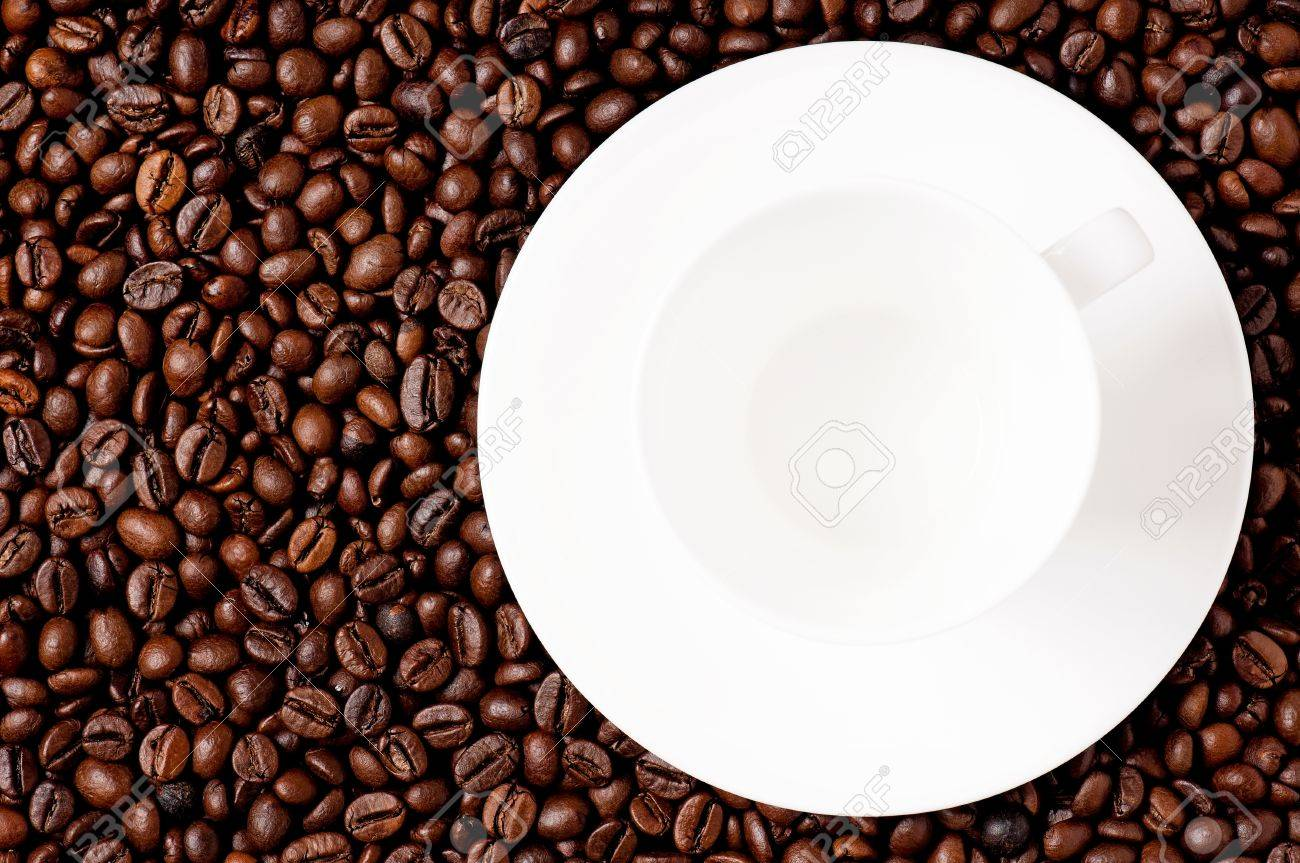 Fine Coffee Mug With Top View Cup On Beans Stock Photo 19738061 Intended Inspiration Decorating