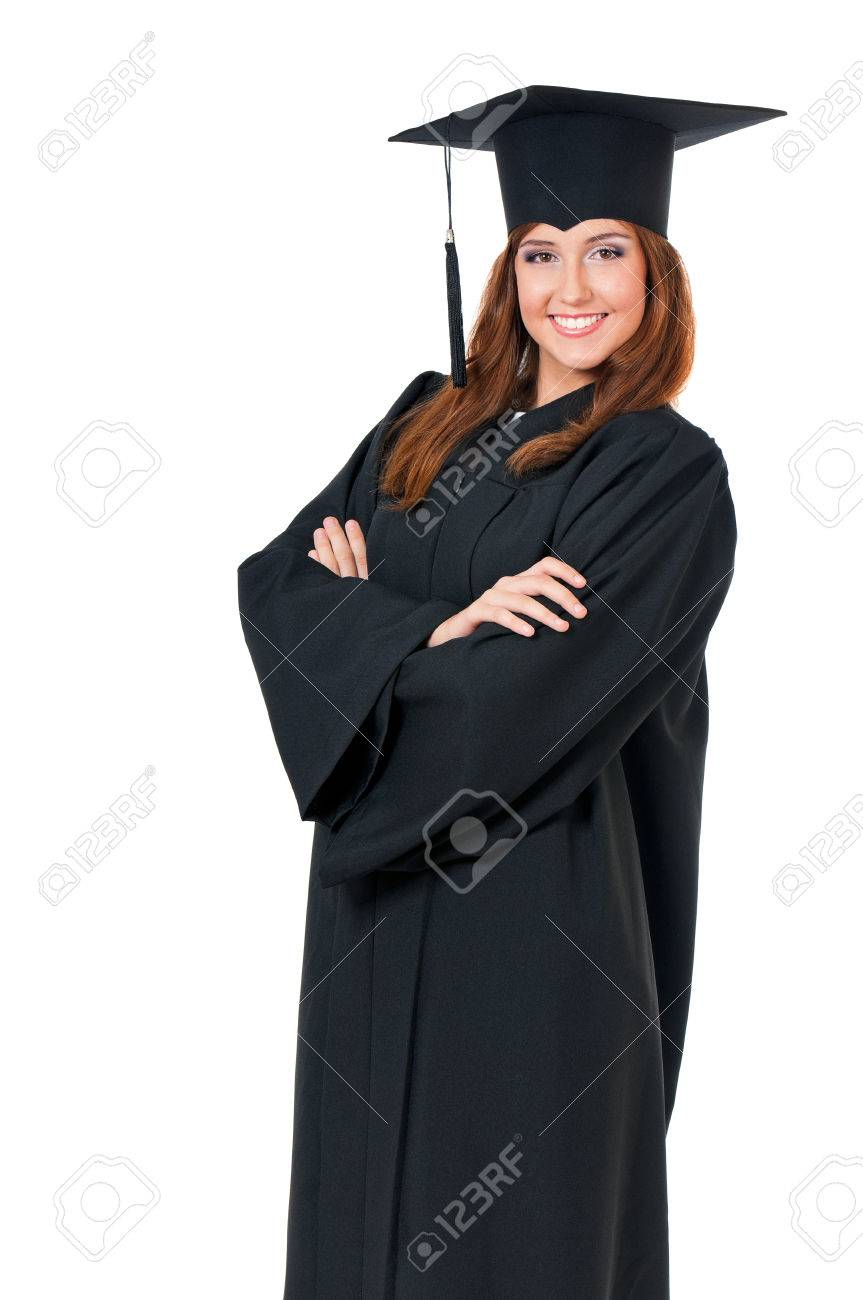 Graduating Student Girl In An Academic Gown, Isolated On White ...