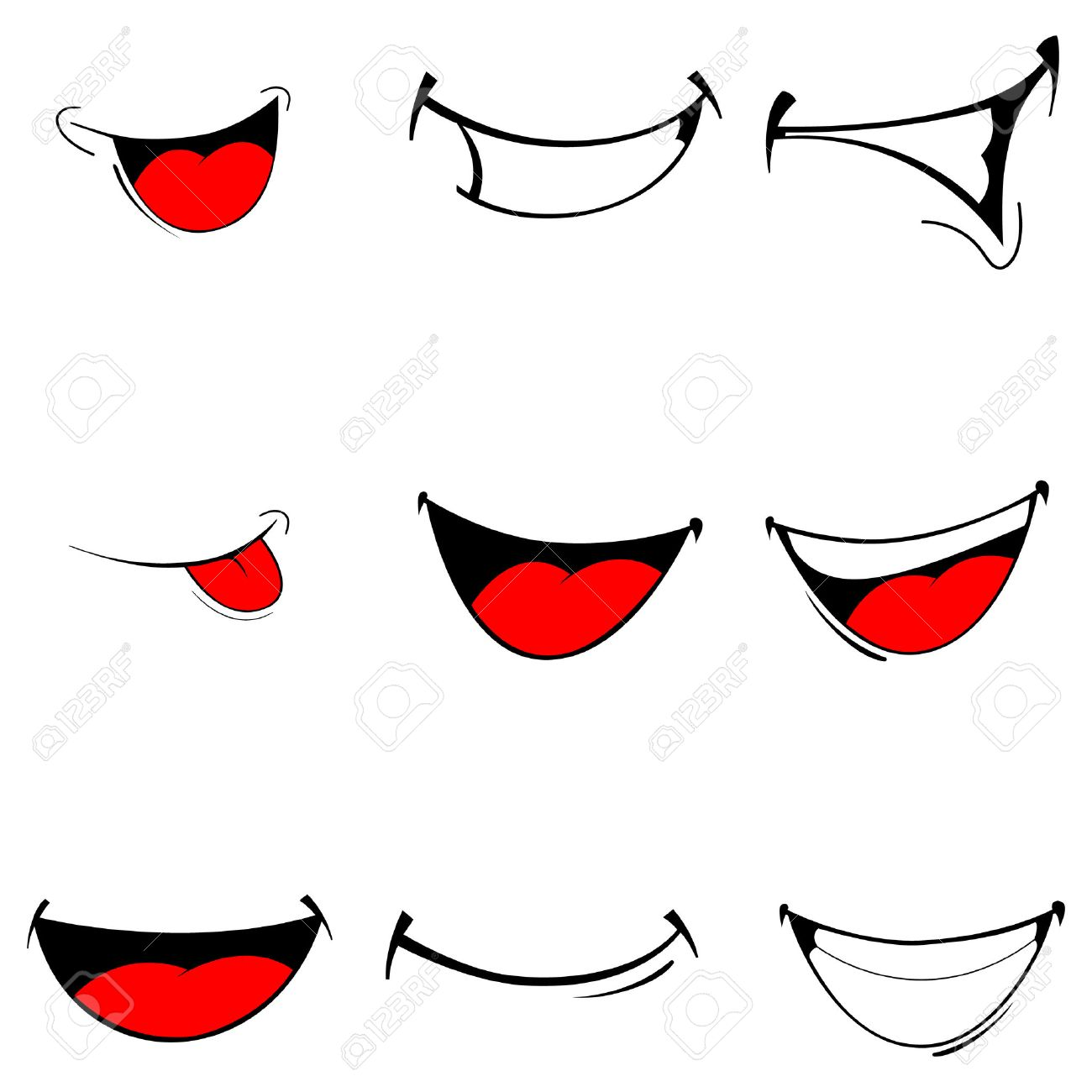 Vector illustration of a set smiling cartoon - happy mouth on white - 52479008