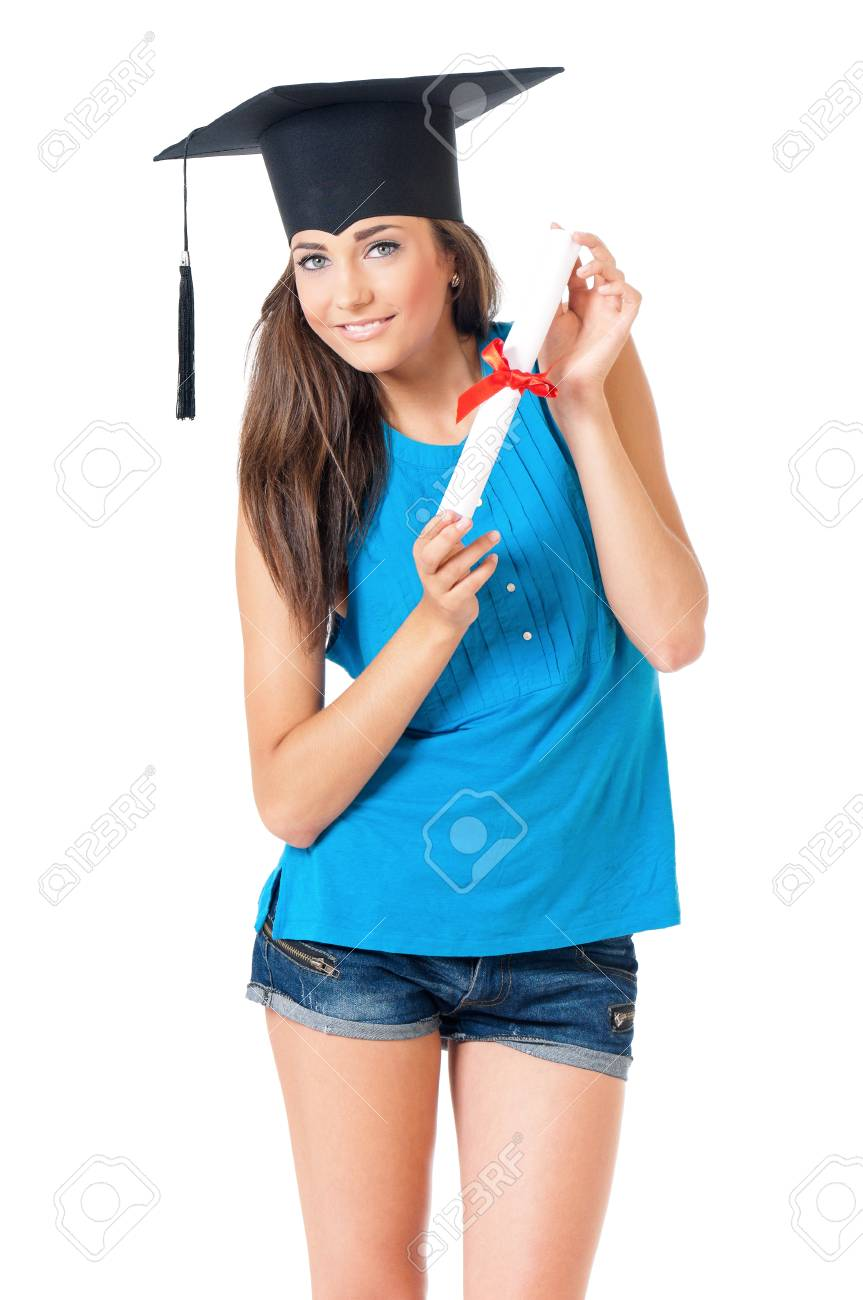 da9fac4ee2 Beautiful Girl With Graduation Hat Holding Diploma Certificate ...