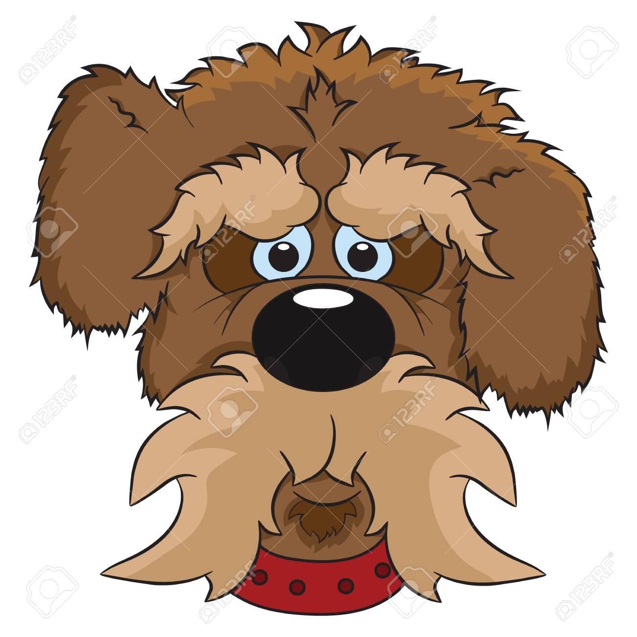 かわいい漫画の犬の肖像画のイラスト。動物は、白い背景で隔離