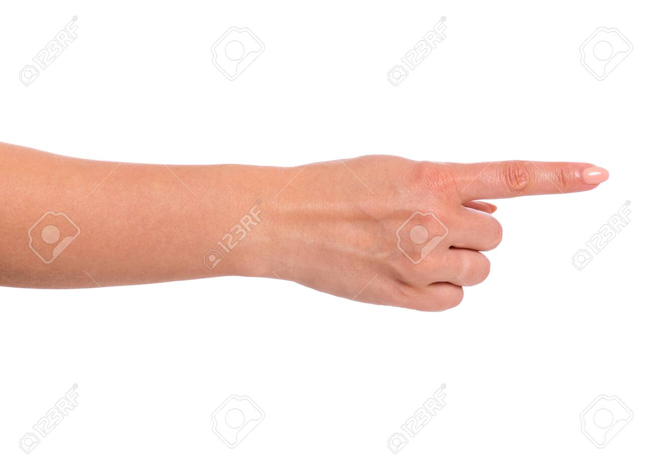 Female hand pointing something, isolated on white background. Beautiful hand close-up of woman with copy space. Finger pointing way. - 141760328