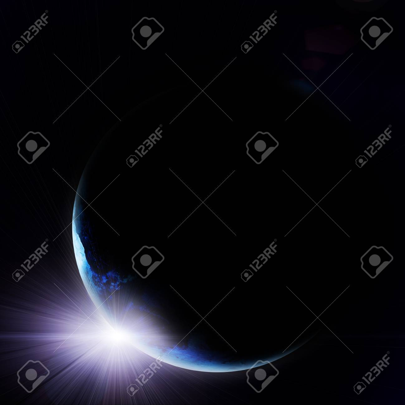 illustration of rising sun over blue earth Stock Illustration - 12688983
