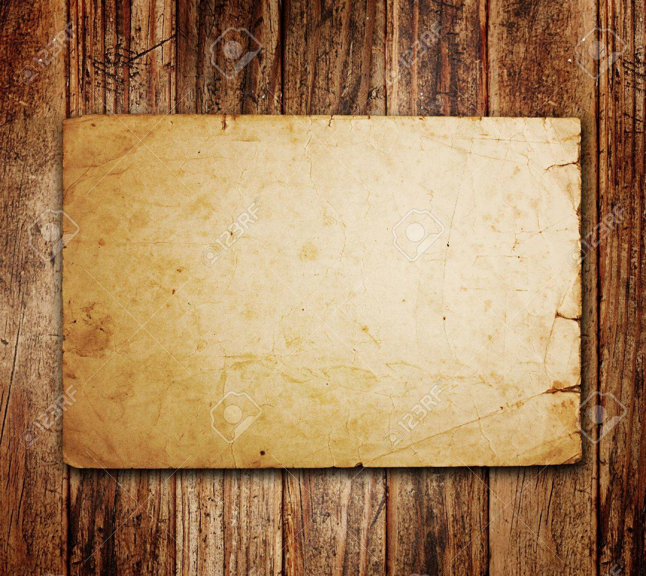 Old Paper On The Wood Background Stock Photo, Picture And Royalty ...