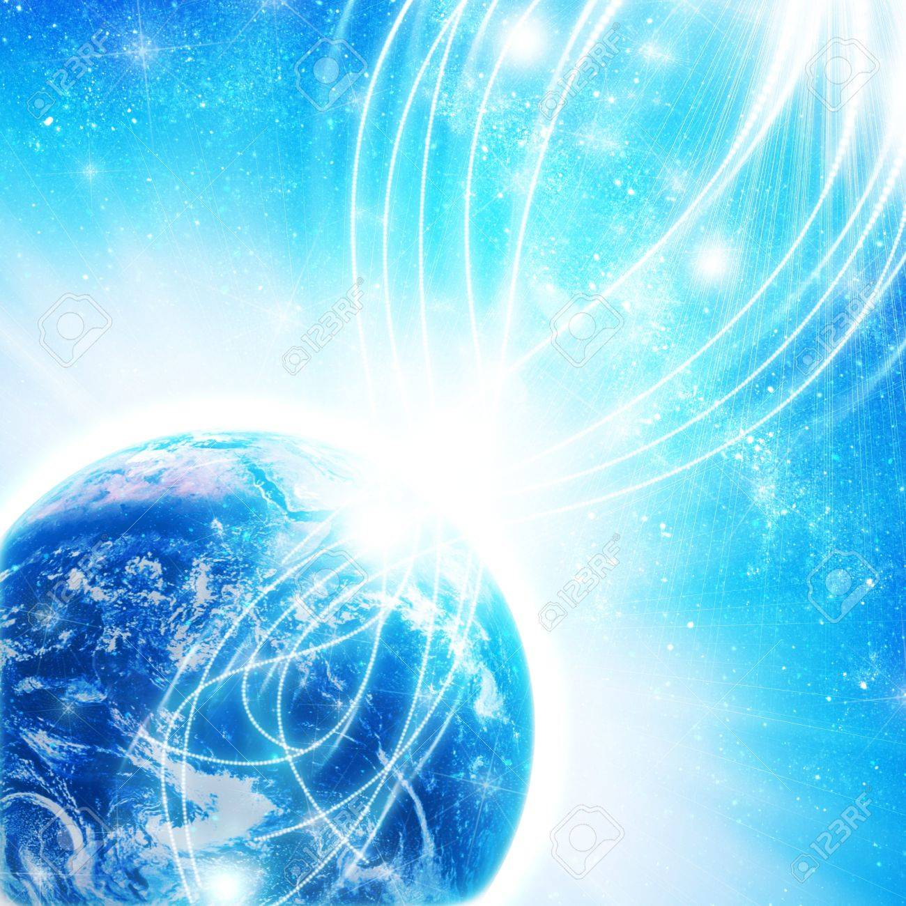 blue earth in space with rising sun Stock Photo - 12693626