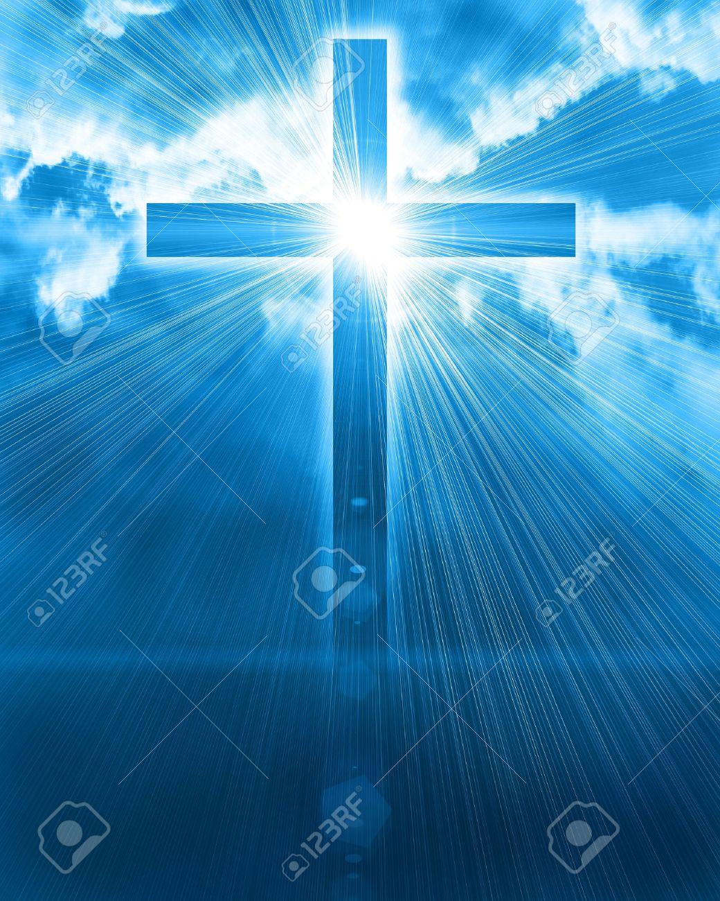 glowing cross in sky - 12697288