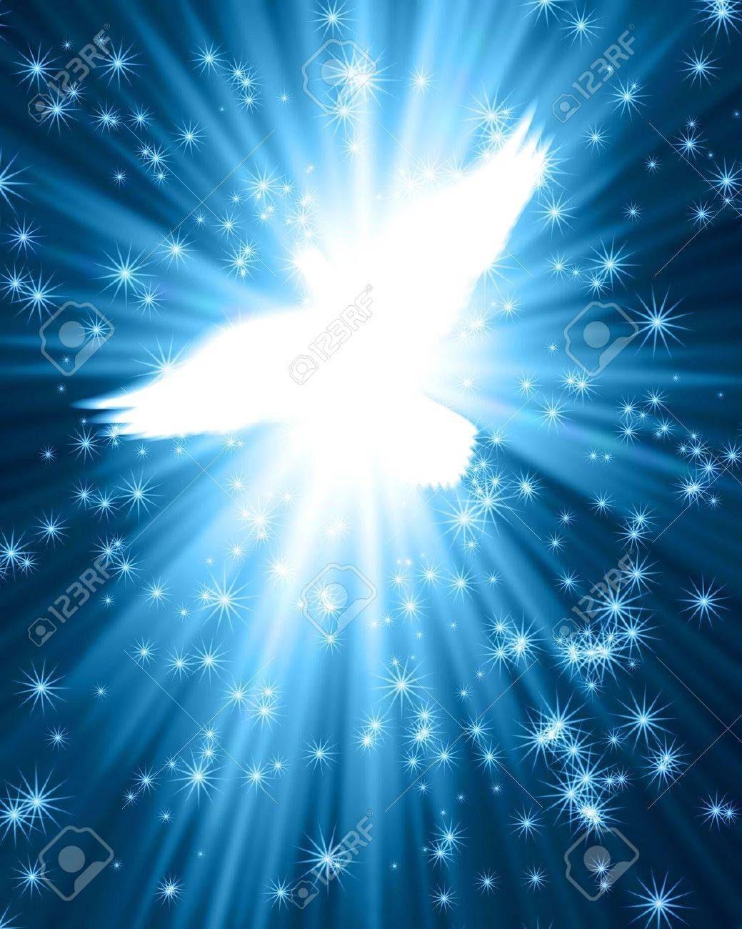 flying dove against glowing background with stars Stock Photo - 12693240