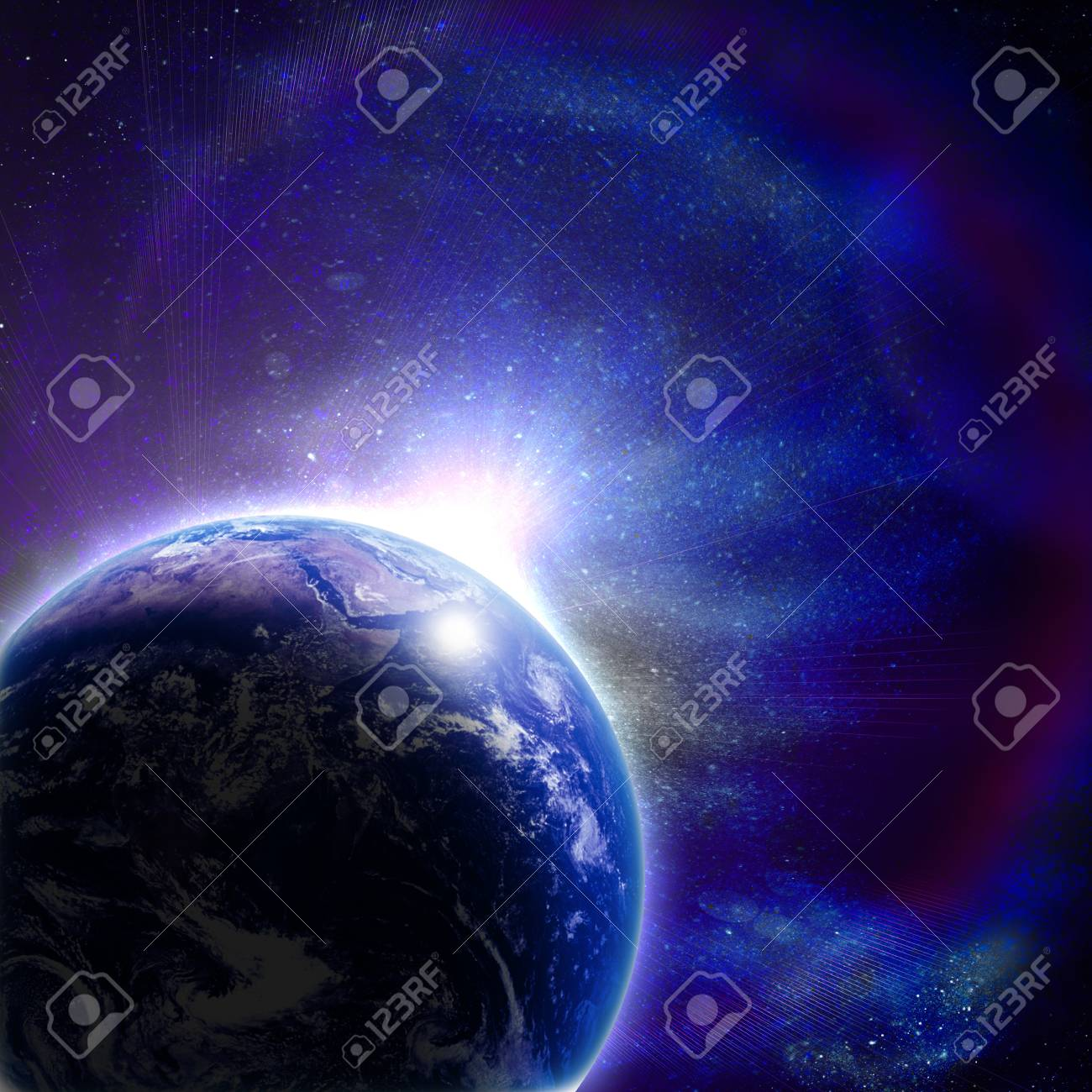 blue earth in space with rising sun Stock Photo - 12696178