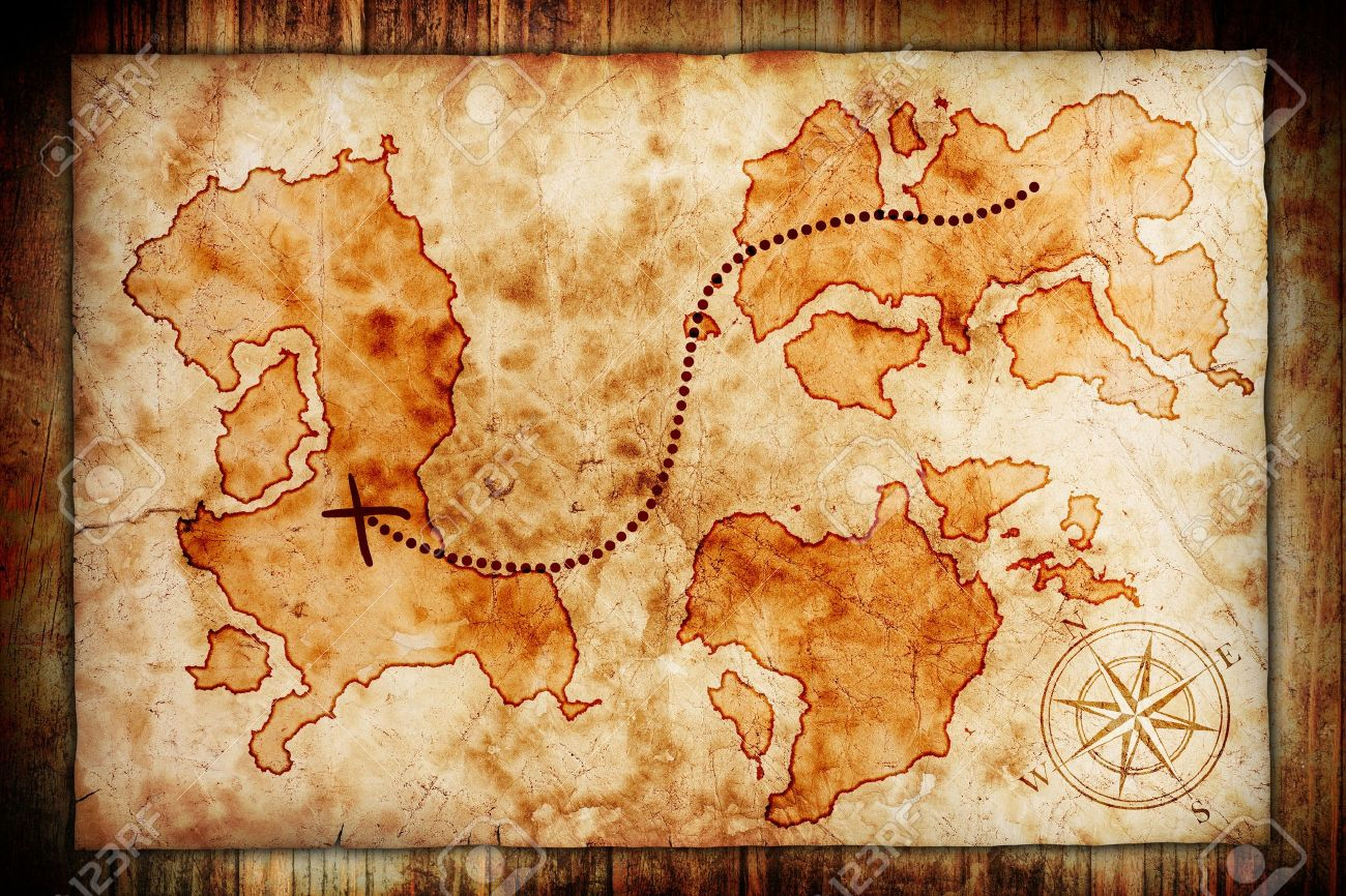 Old Treasure Map Old Treasure Map, On Wooden Grunge Background Stock Photo, Picture