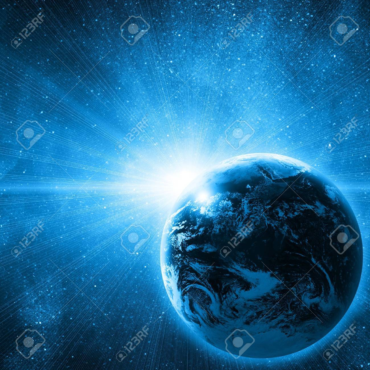 earth in space with rising sun Stock Photo - 12705976