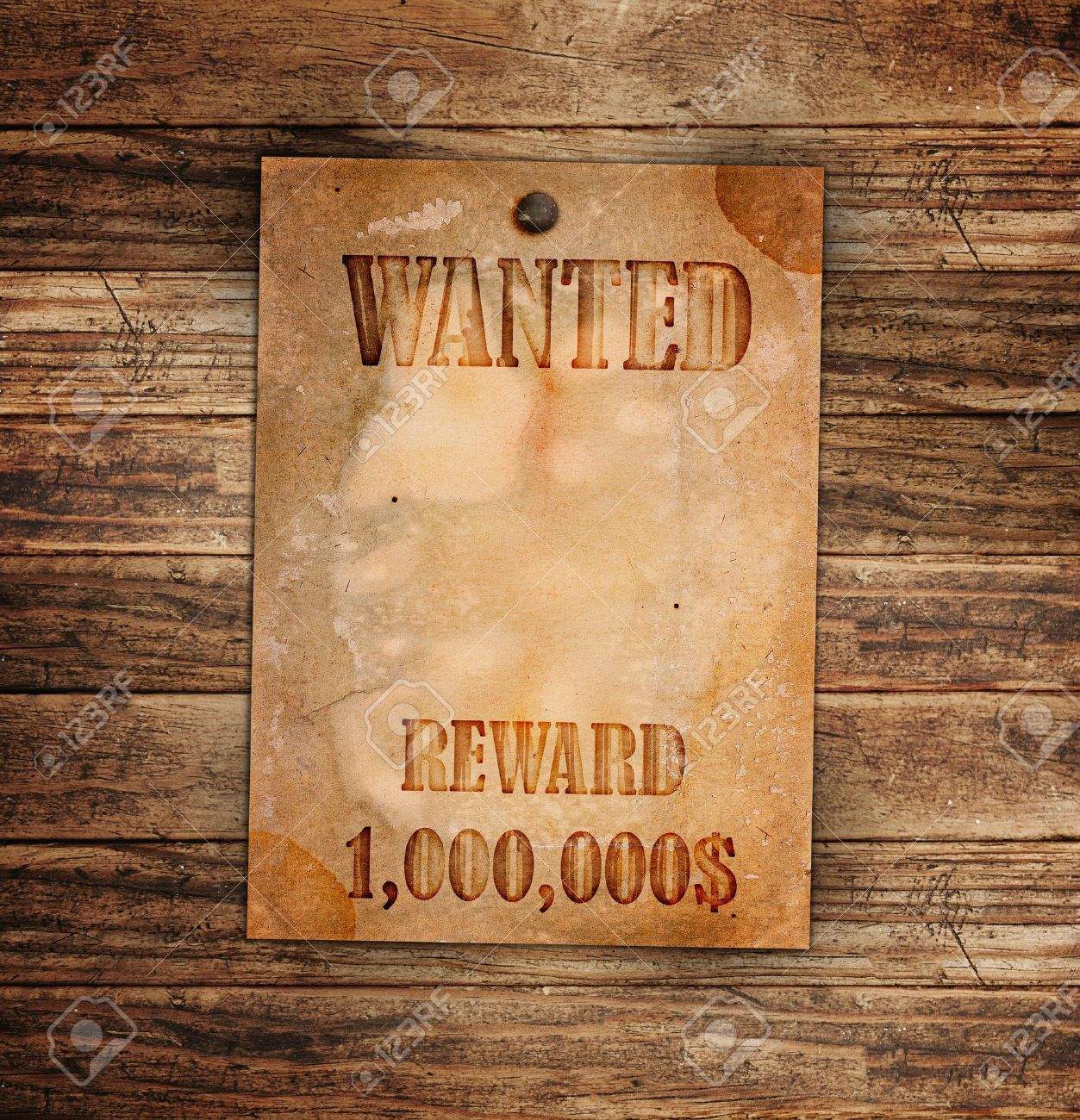 Vintage Wanted Poster On A Wooden Wall Stock Photo   12706049  Free Wanted Poster Template Download