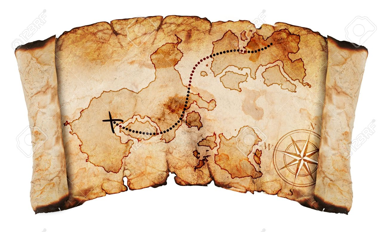 Old treasure map isolated on a white background stock photo old treasure map isolated on a white background stock photo 12704439 gumiabroncs Images