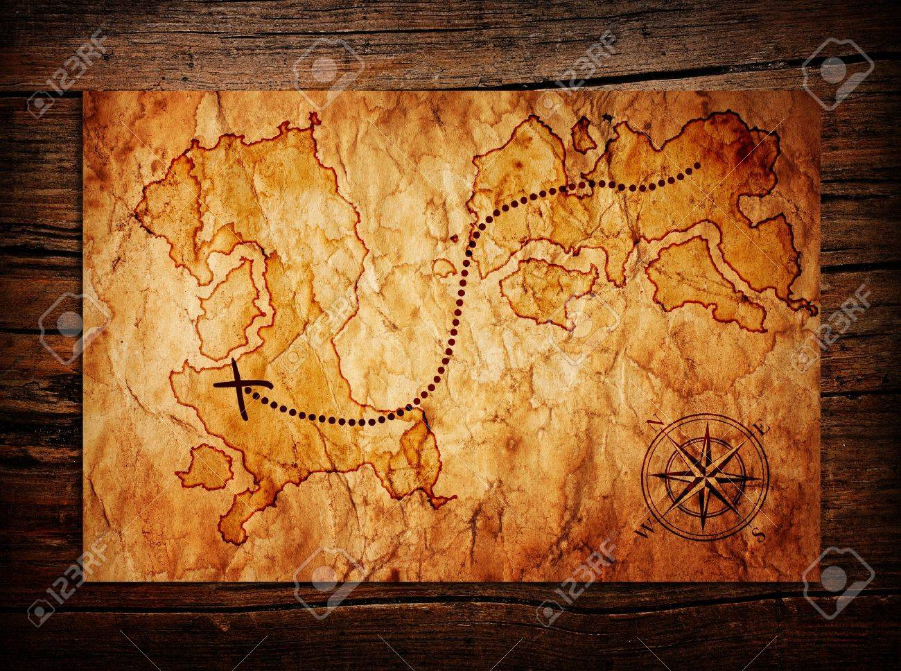 old treasure map on wooden background stock photo picture and