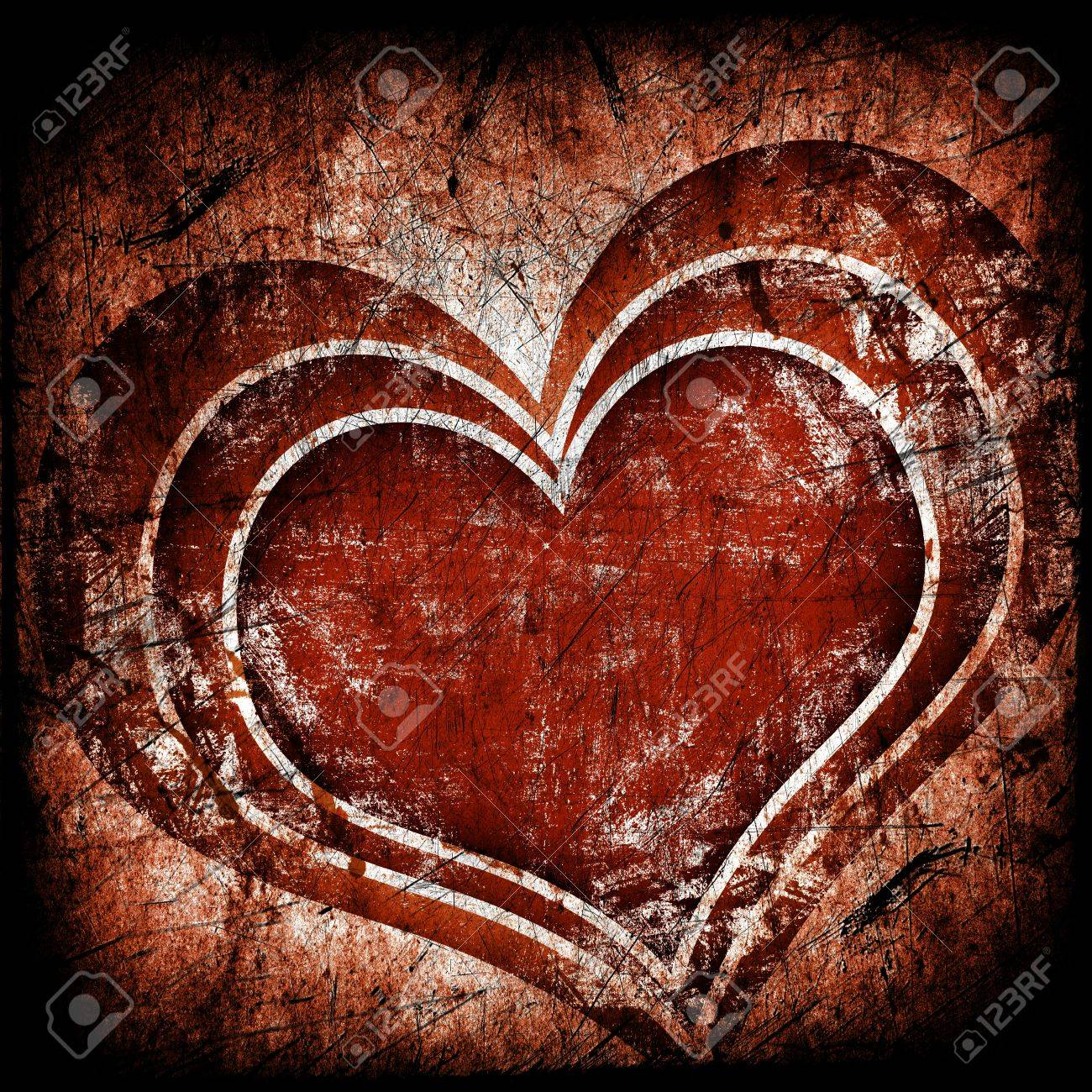 grunge art background with hearts Stock Photo - 13134437
