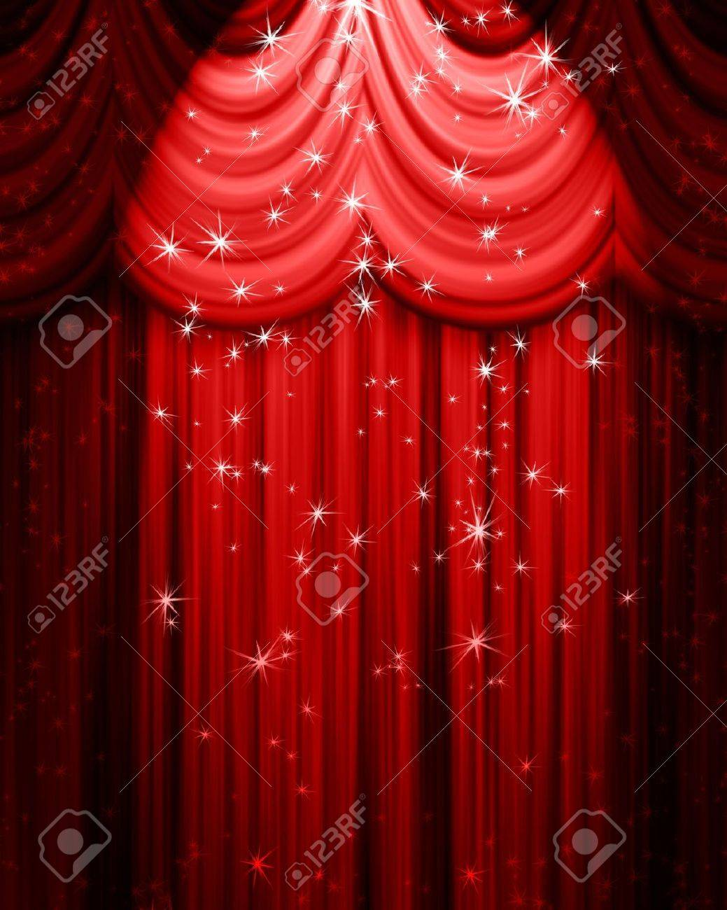 Stage curtains spotlight - Red Theatre Curtain With Spotlight And Stars Stock Photo 13504379