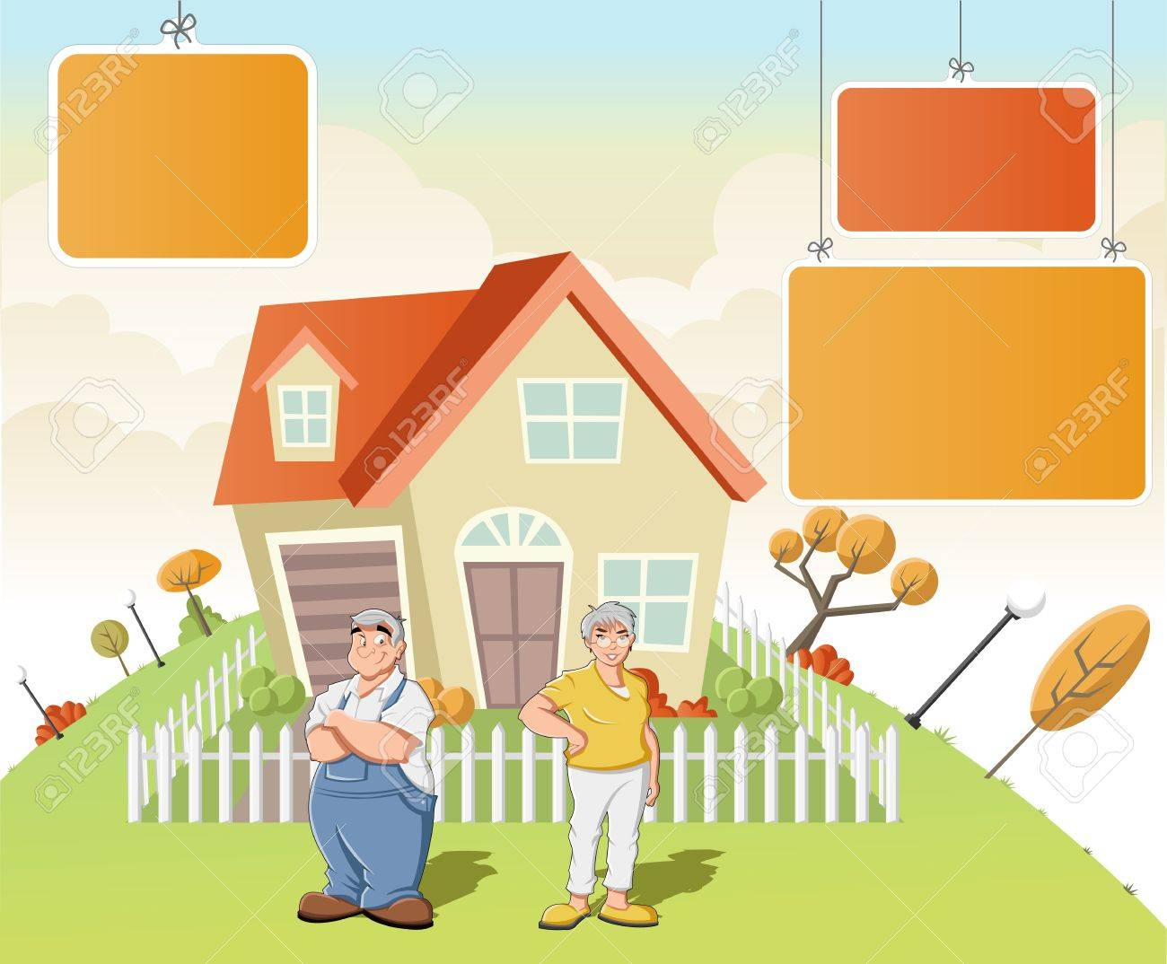 Colorful template for advertising brochure with cartoon old people in front of a house in green park. Stock Vector - 16260774
