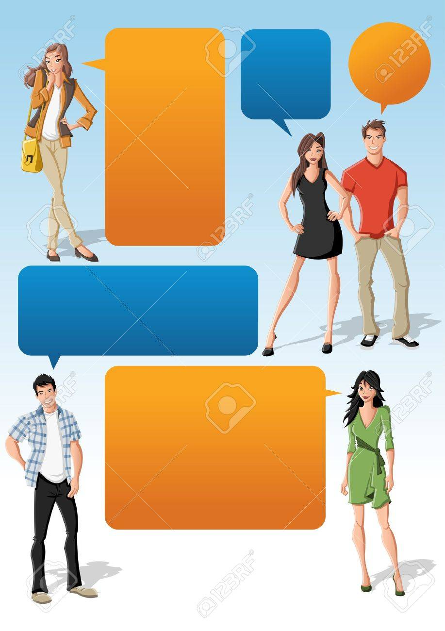 Colorful template for advertising brochure with cool fashion young people and speech balloons. Teenagers. Stock Vector - 16260817
