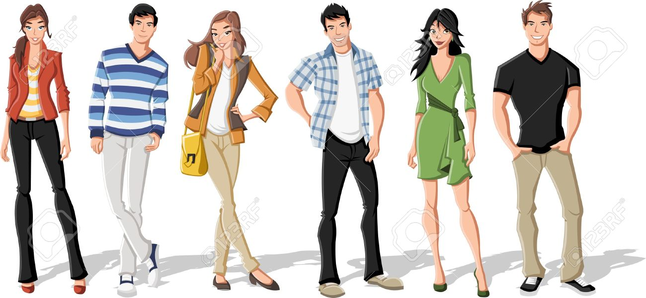 Group of fashion cartoon young people. Teenagers. Stock Vector - 16260806