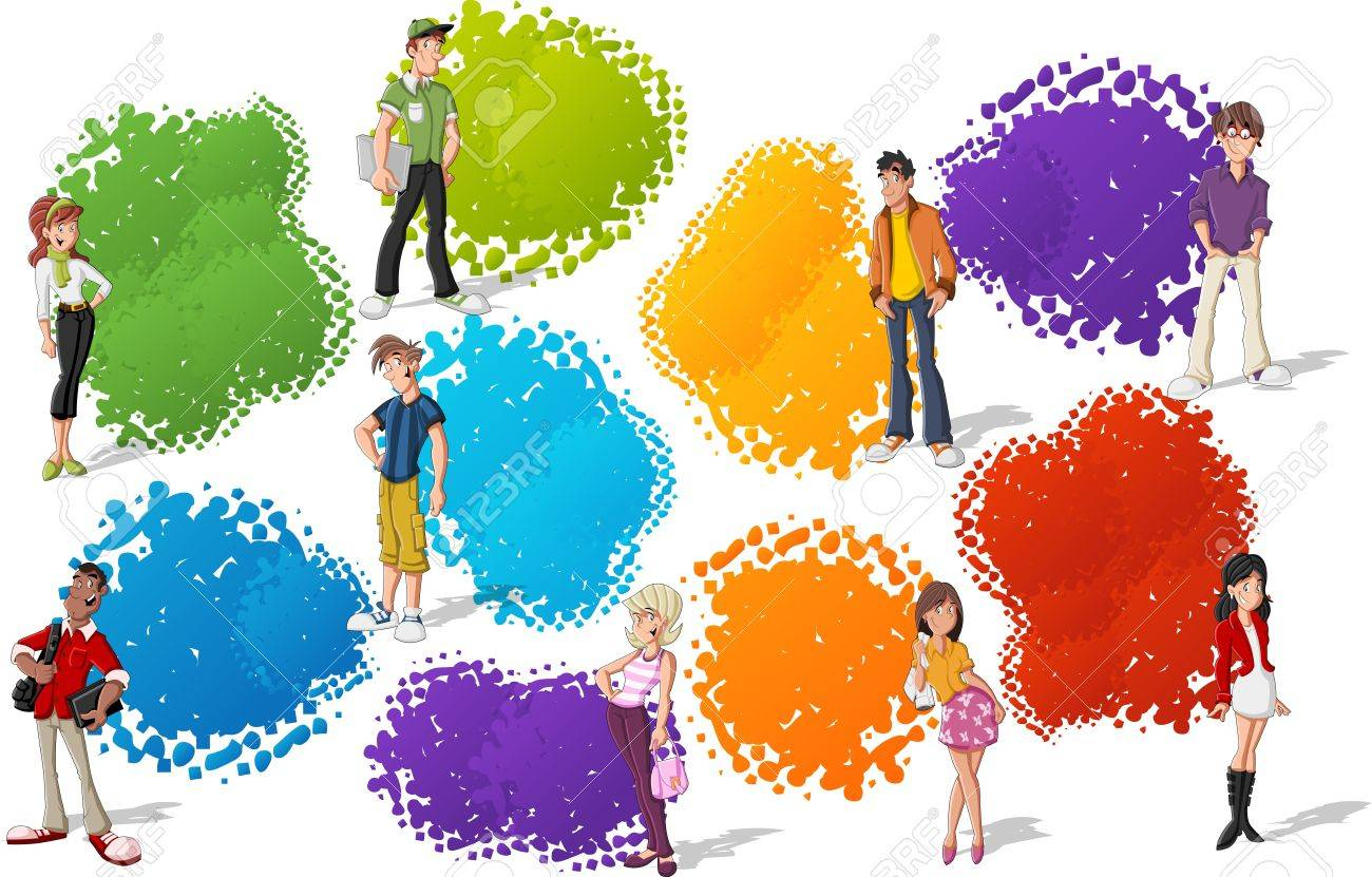 Colorful template for advertising brochure with cool cartoon young people Teenagers - 16375295