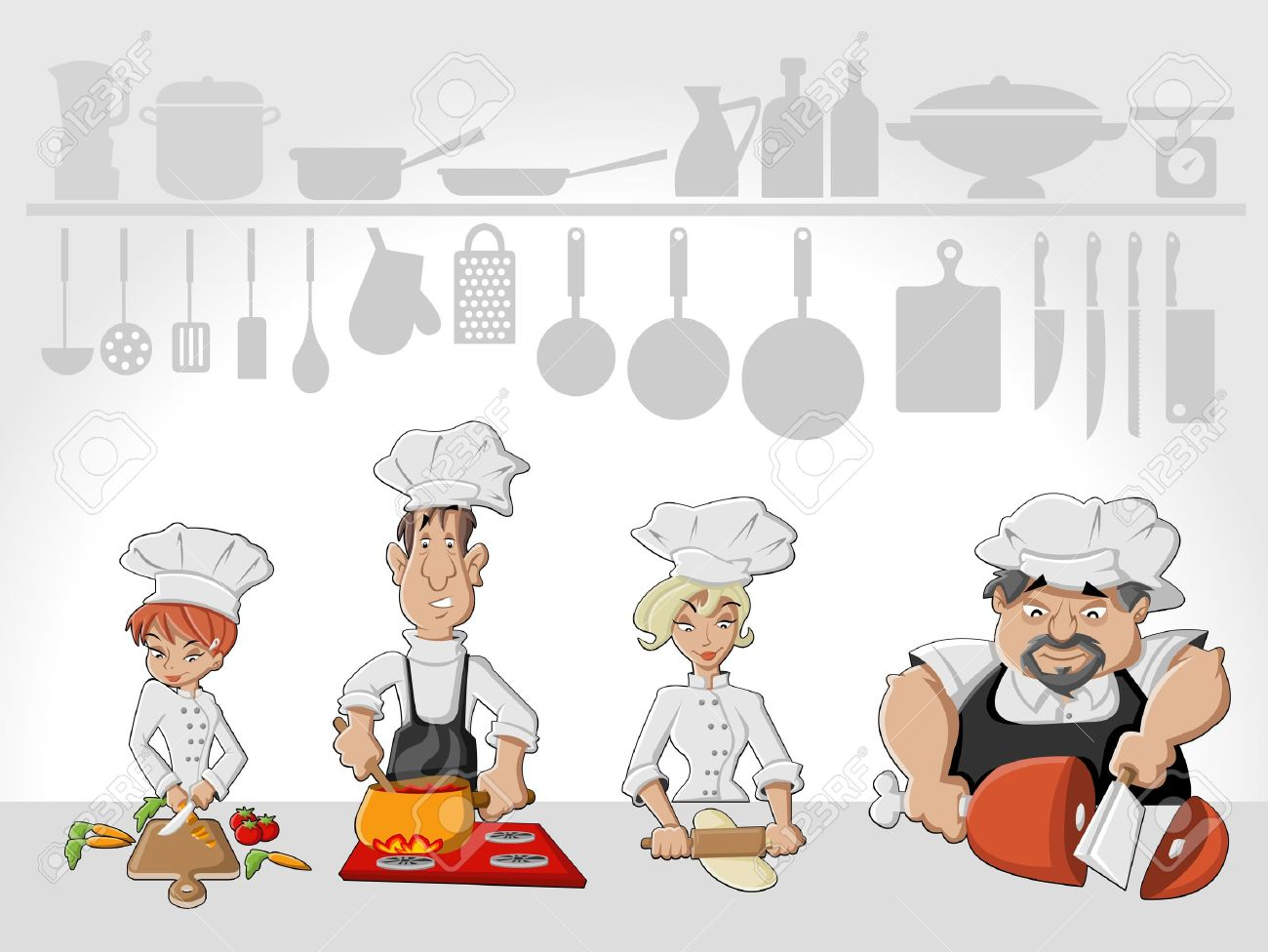 Restaurant Kitchen Illustration chef team cooking delicious meal in restaurant kitchen gourmet
