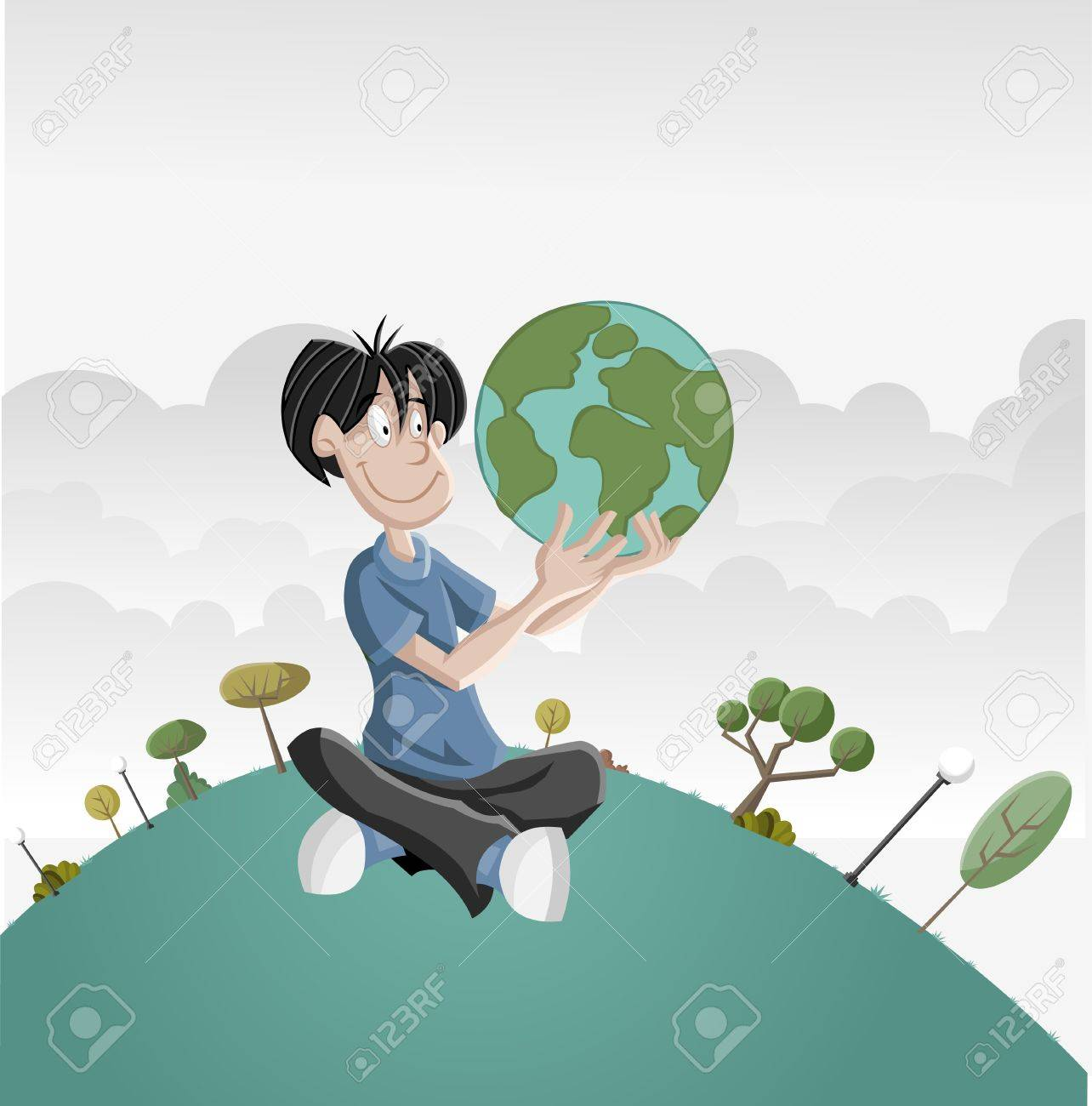 Cartoon boy holding earth globe Stock Vector - 16375178