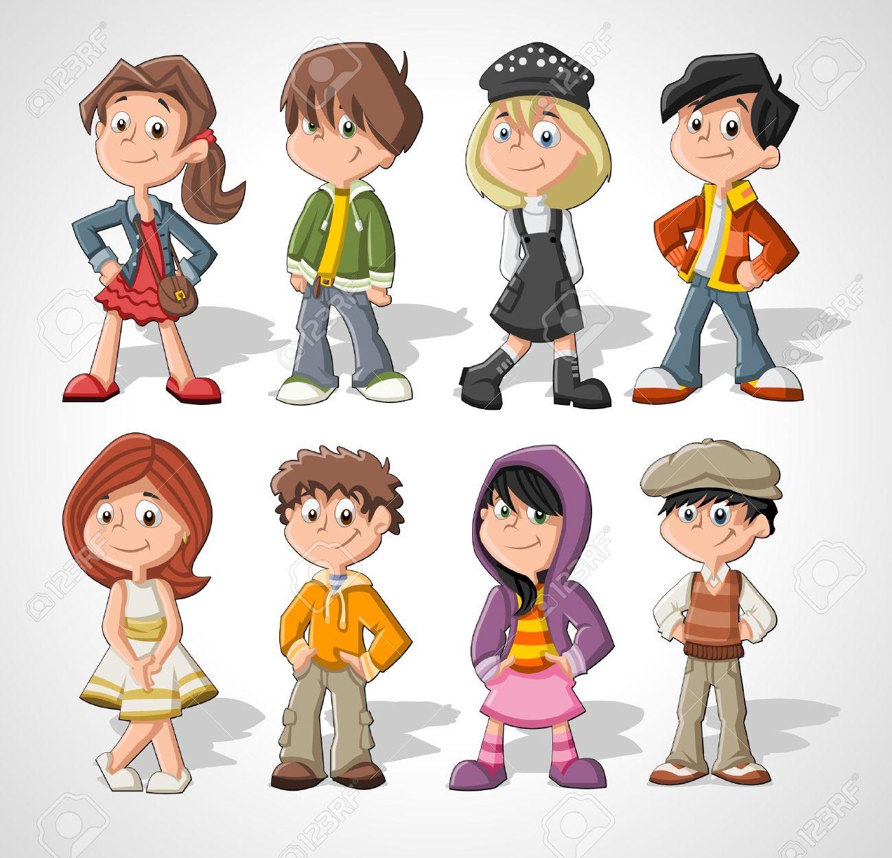 set of 8 cute happy cartoon kids stock vector 16375217 - Cartoon Pictures Of Kids