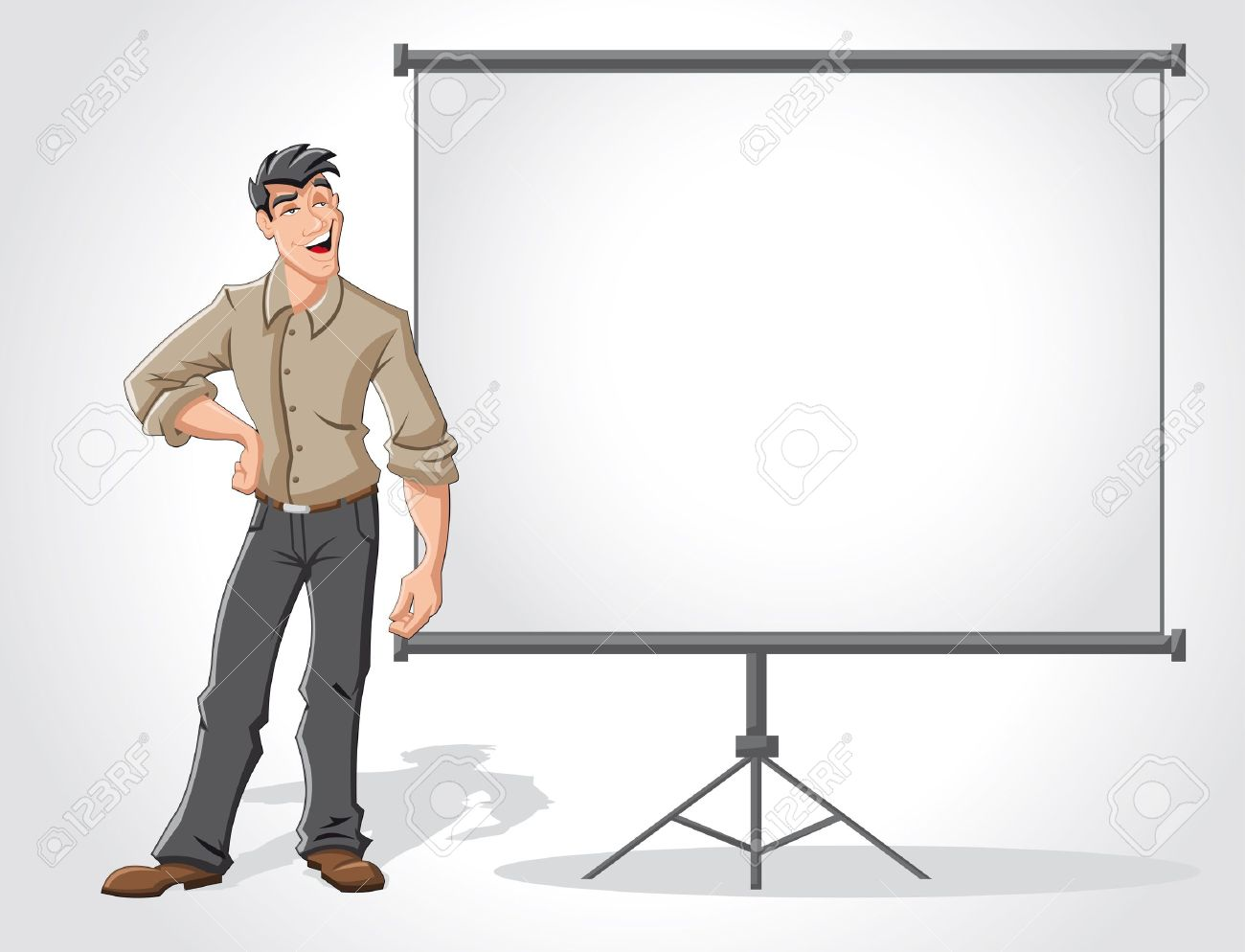 Young man and white billboard with empty space  Presentation screen Stock Vector - 16490931