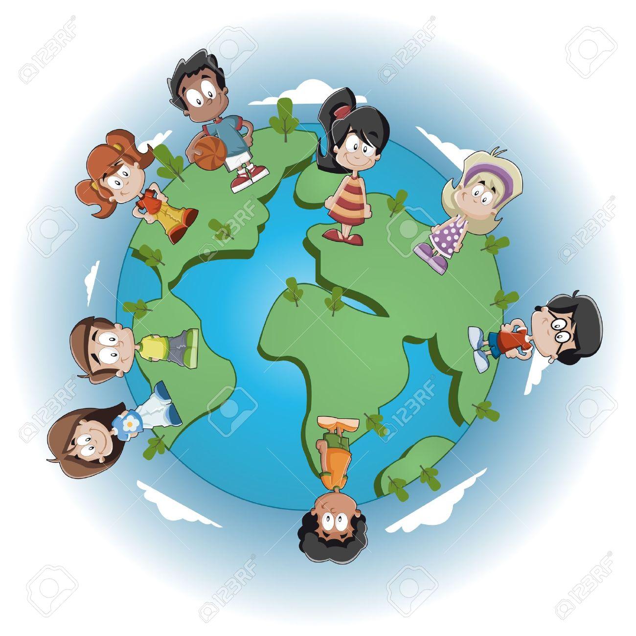Mignons De Dessin Animé Enfants Heureux Sur La Planète Terre Clip