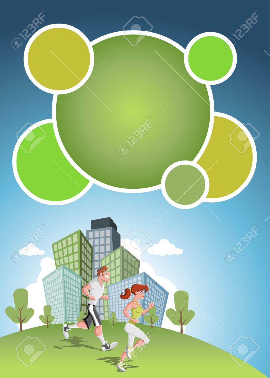 template for advertising brochure with couple jogging in the city park Stock Vector - 16552337