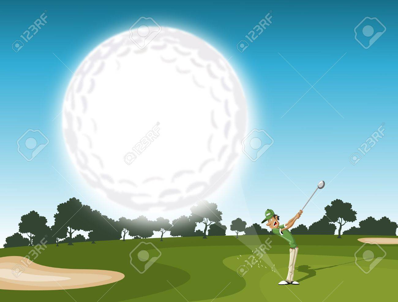 Golf ball coming  golfer swinging after hitting golf ball  EPS 10 and transparency Stock Vector - 16552355