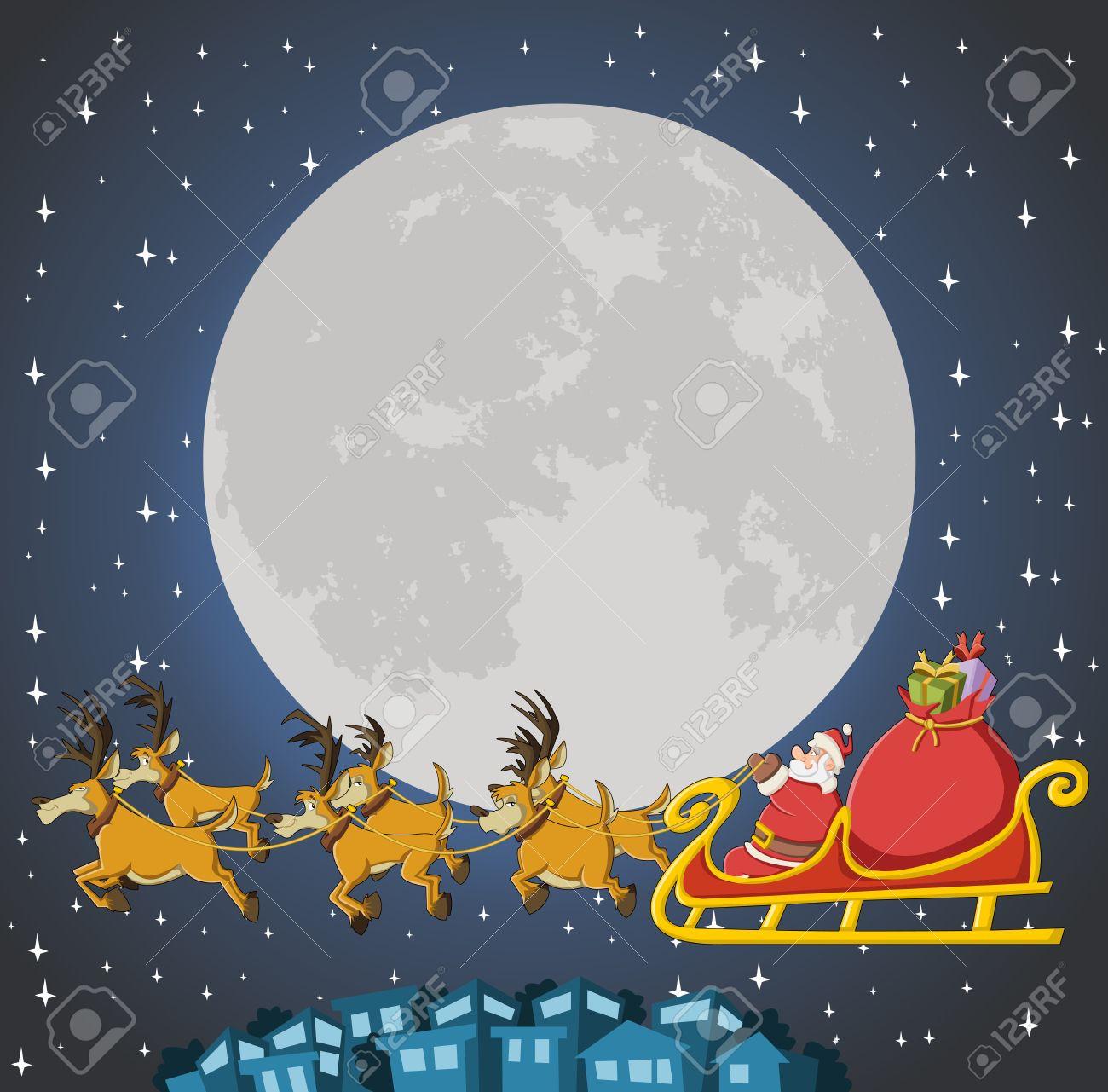 Santa Claus on sleigh with reindeer flying on christmas night with big moon Stock Vector - 16552363