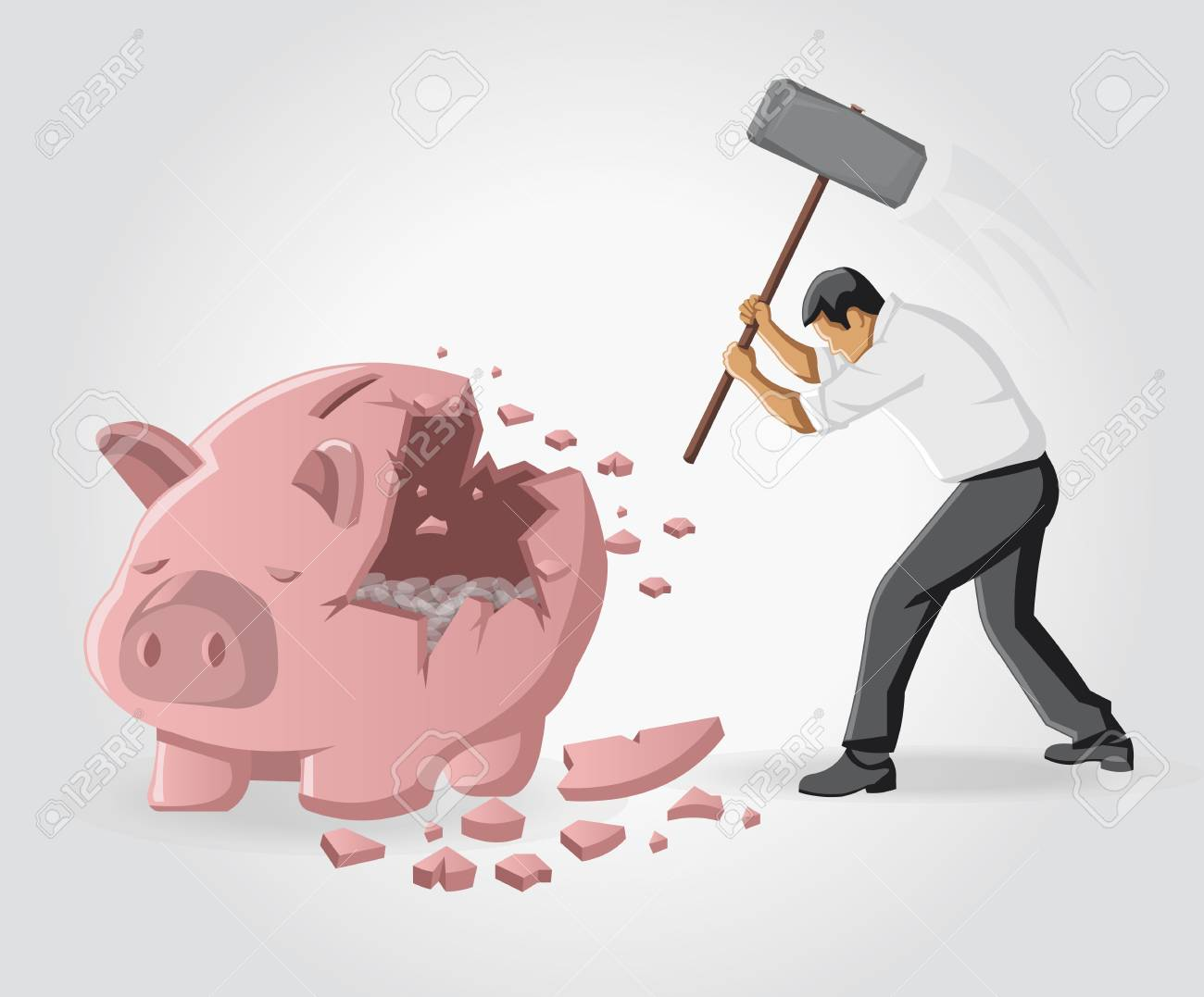 Business man breaking piggy bank with coins Stock Vector - 16829034