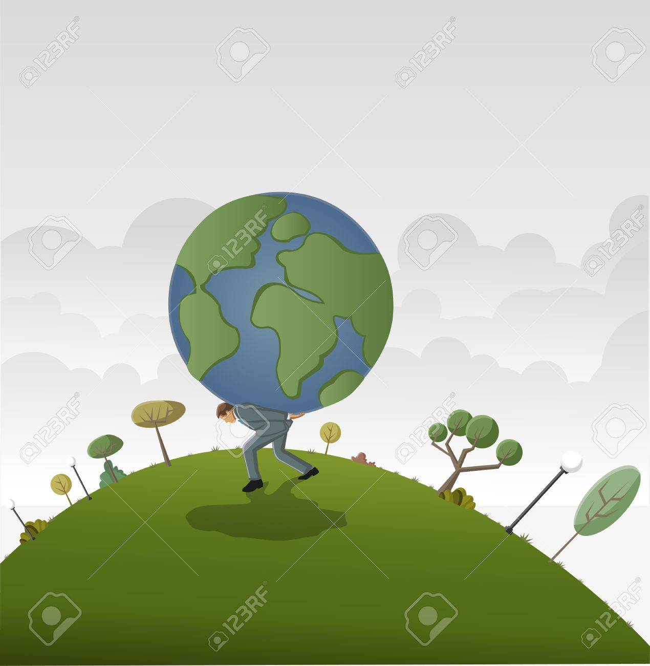 Business man carrying earth planet globe Stock Vector - 16829006