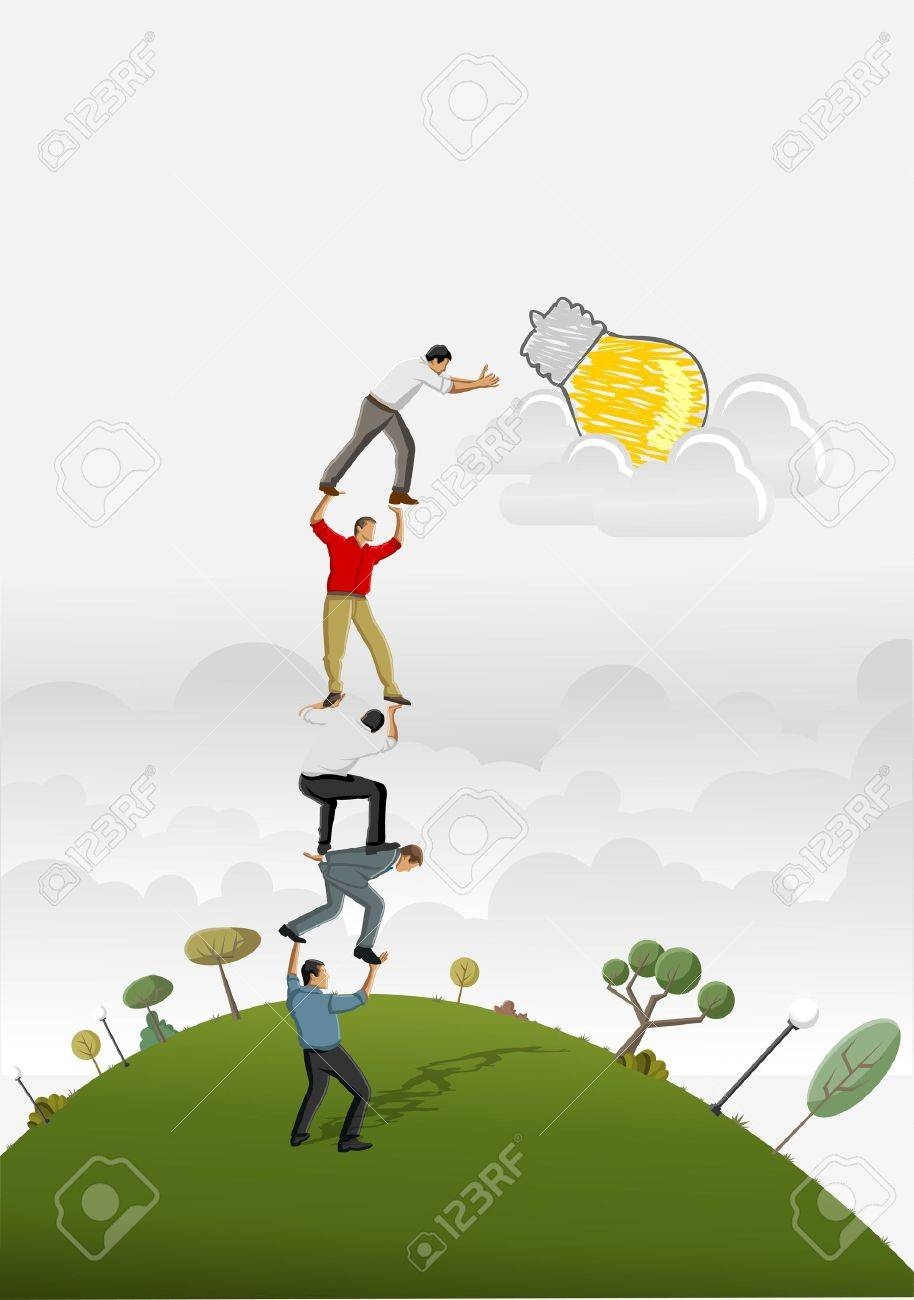 Business people carrying each other to reach a idea light bulb Stock Vector - 16829020