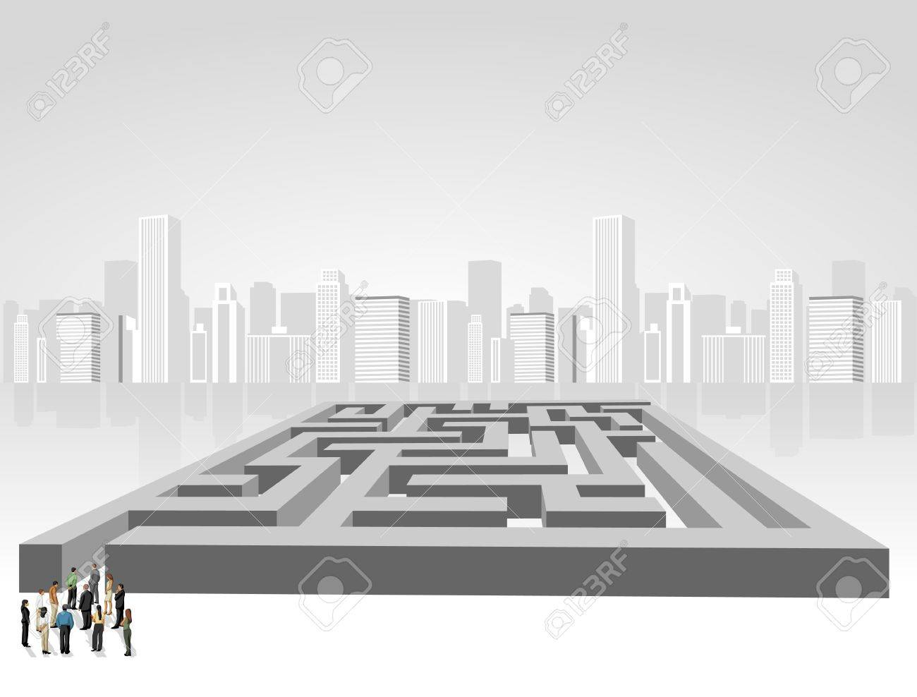 Group of business people choosing the right way of a maze  Multiple options Stock Vector - 16828949