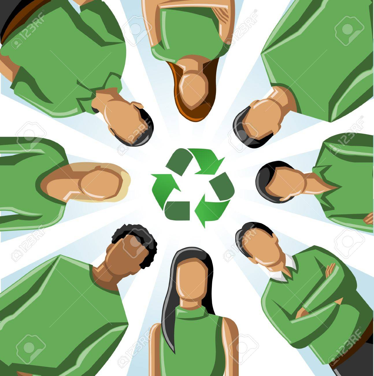 Eco illustration of a circle of people in green clothes with recycling symbol Stock Vector - 16876010