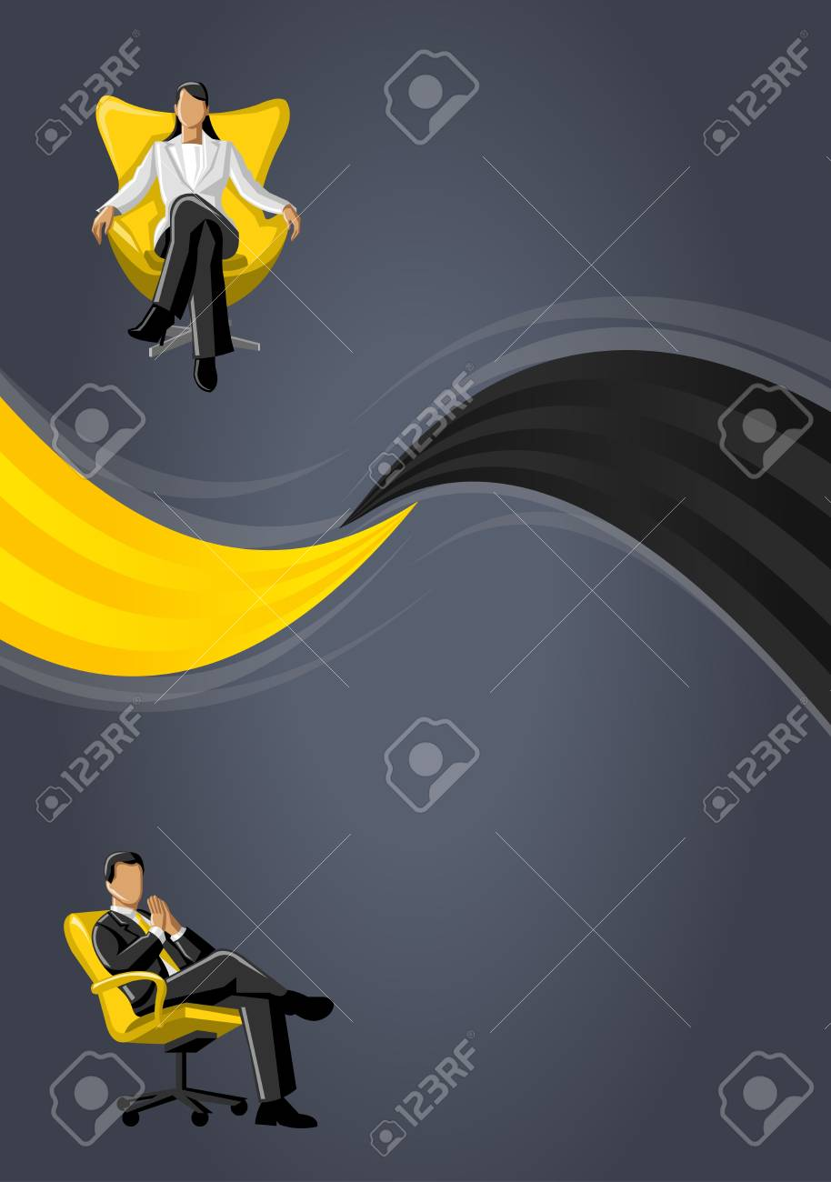 Yellow template for advertising brochure with business people Stock Vector - 16904408
